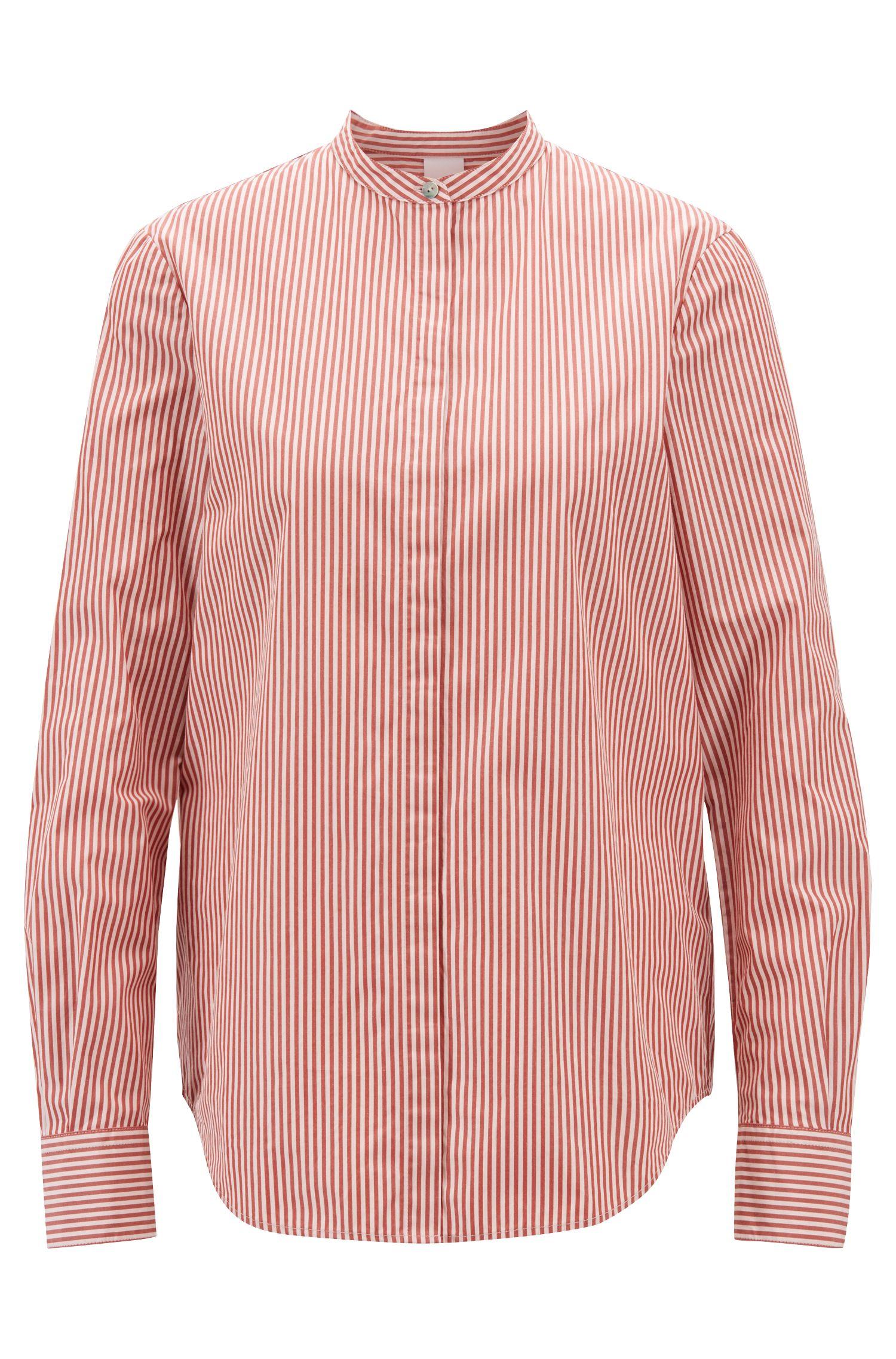 Hugo Boss - Relaxed-Fit Bluse aus gestreifter Baumwolle mit Stehkragen - 1