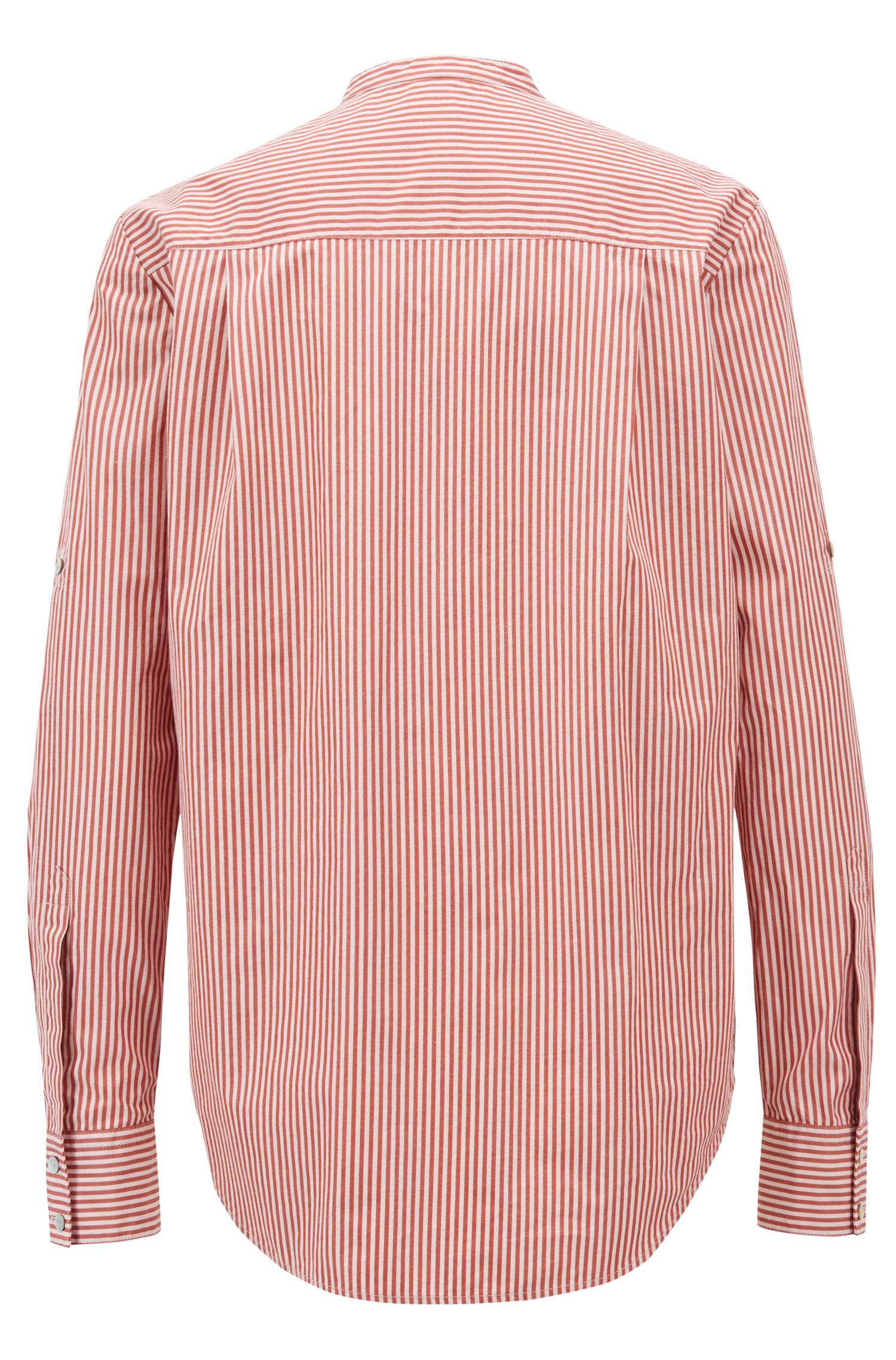 Relaxed-fit blouse in striped cotton with stand collar, Brown
