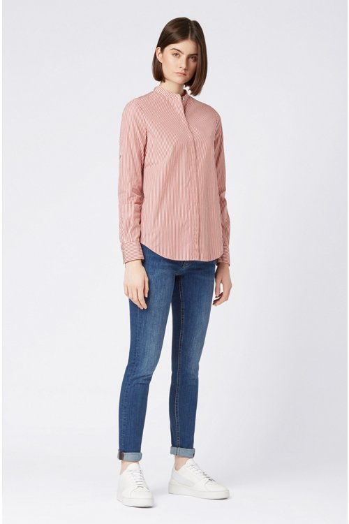 Hugo Boss - Relaxed-fit blouse in striped cotton with stand collar - 2