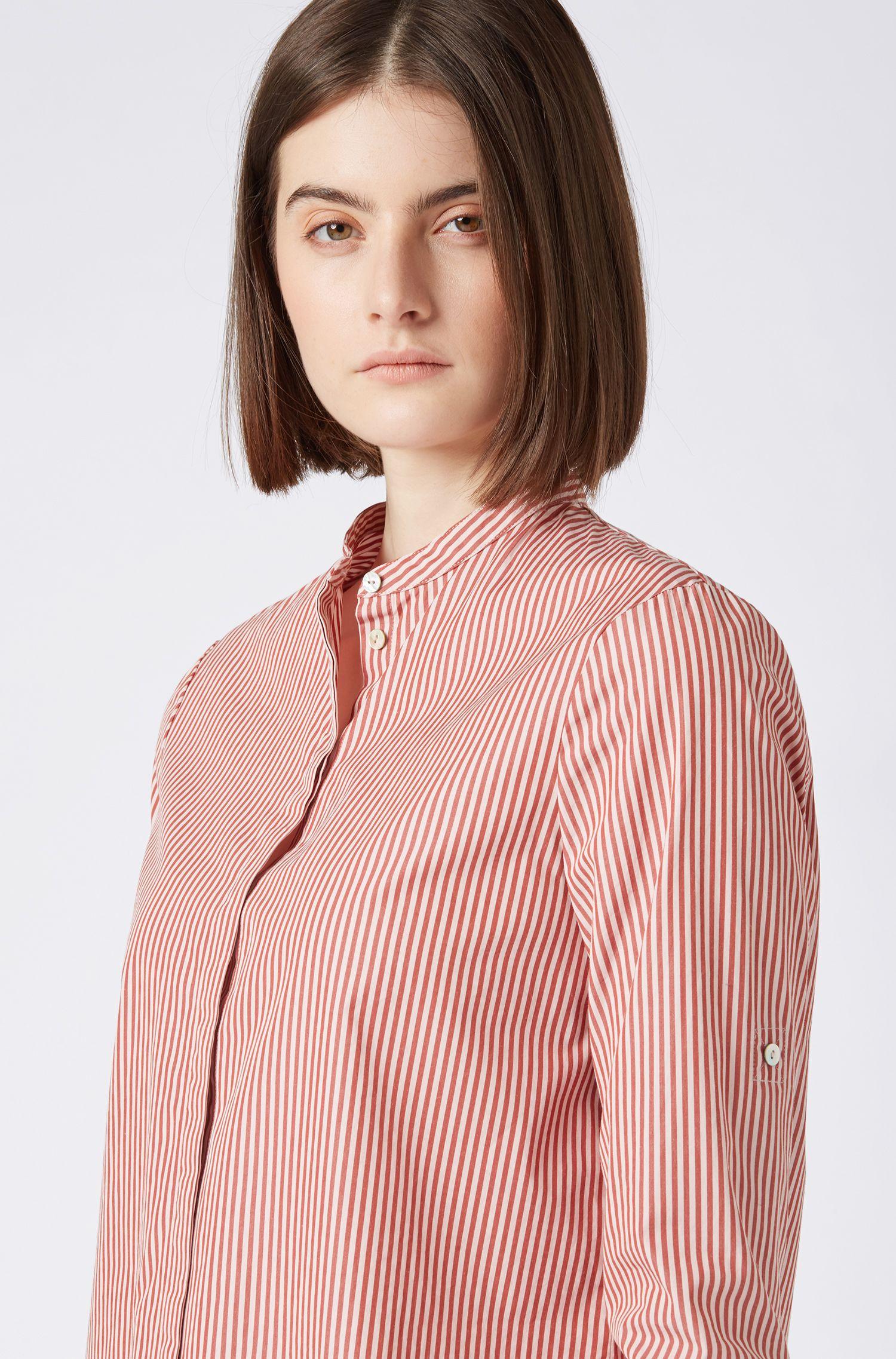 Hugo Boss - Relaxed-Fit Bluse aus gestreifter Baumwolle mit Stehkragen - 4