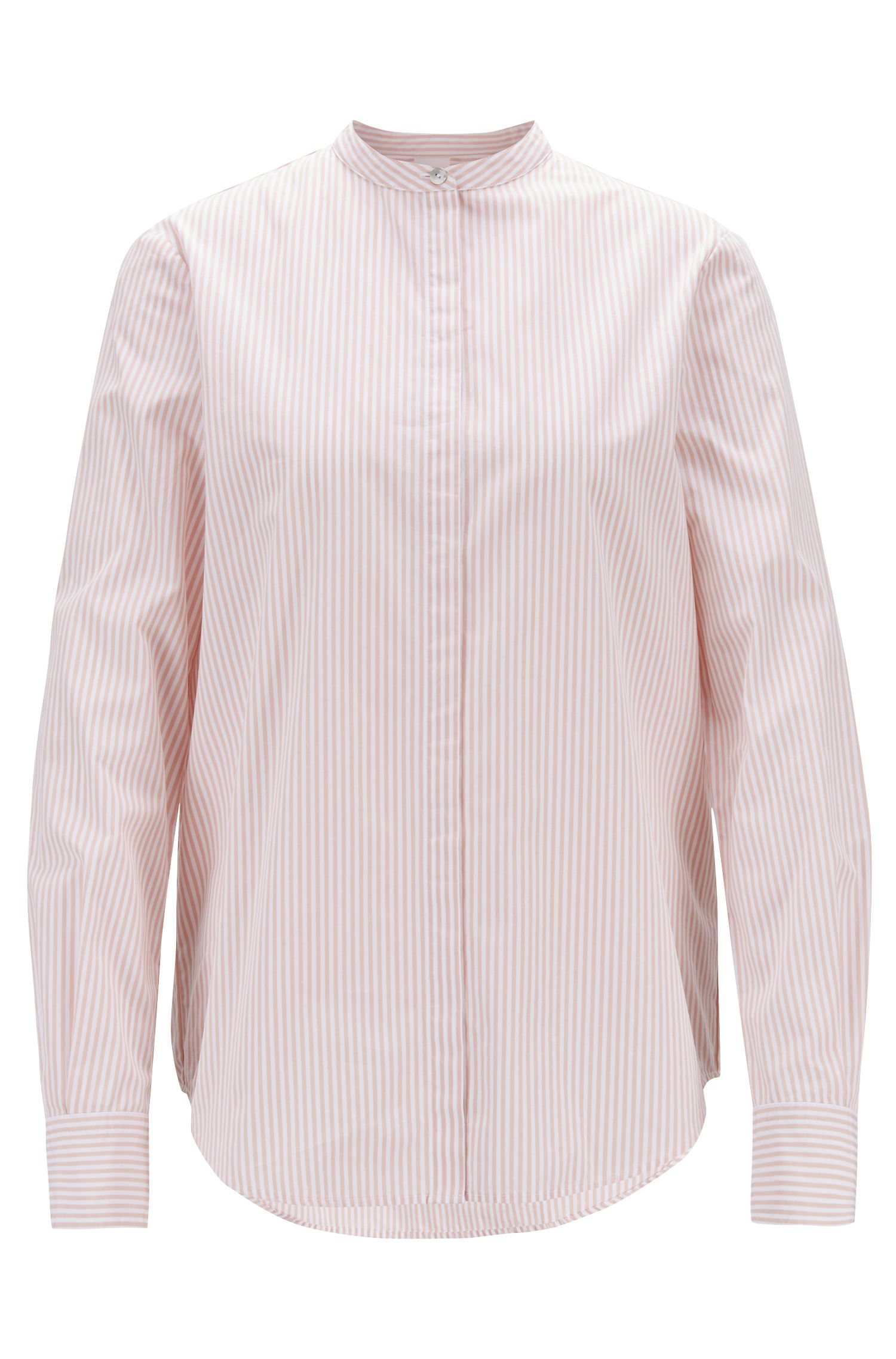 Relaxed-fit blouse in striped cotton with stand collar, Light Red