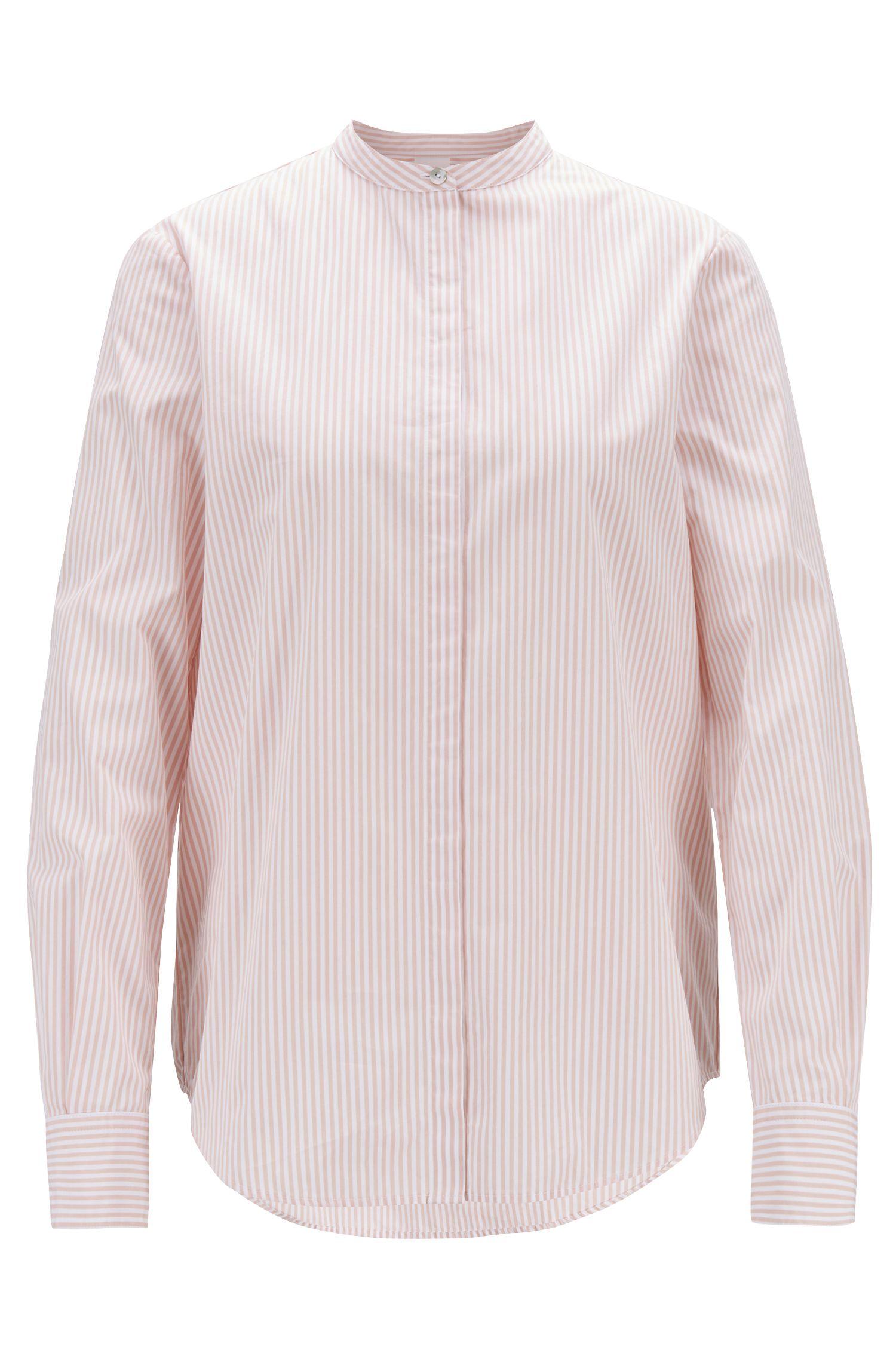 Blusa relaxed fit en algodón a rayas con cuello mao, Rojo claro