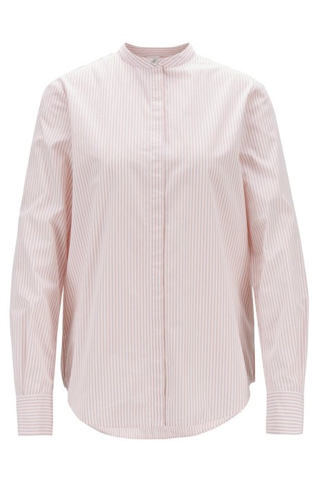 Relaxed-Fit Bluse aus gestreifter Baumwolle mit Stehkragen, Hellrot