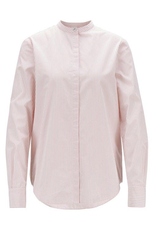 Hugo Boss - Blusa relaxed fit en algodón a rayas con cuello mao - 1