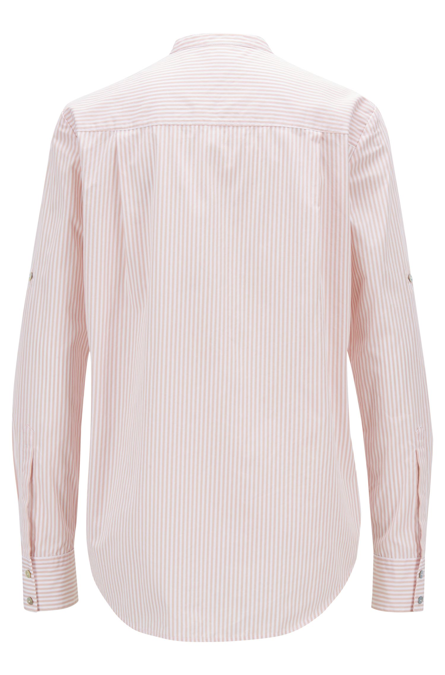 Hugo Boss - Relaxed-fit blouse in striped cotton with stand collar - 3