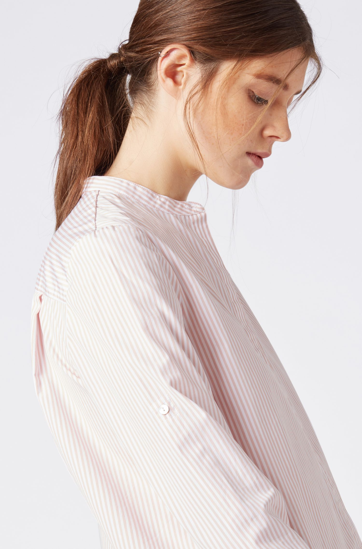Hugo Boss - Relaxed-fit blouse in striped cotton with stand collar - 4