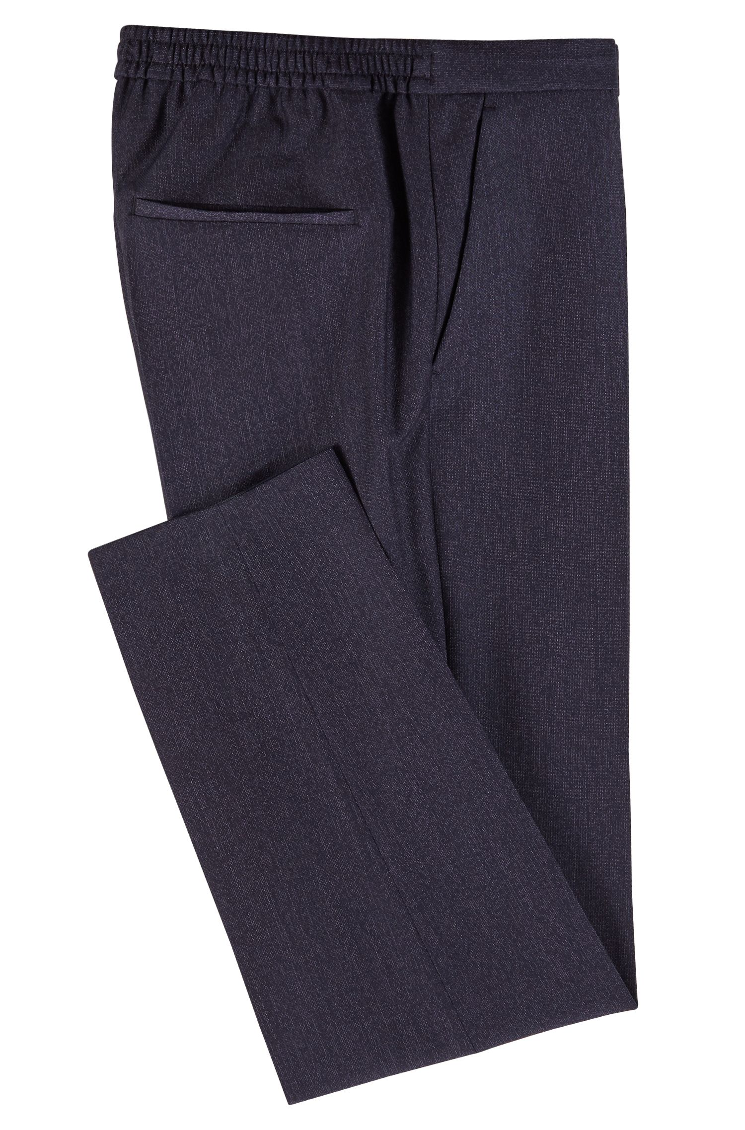 Slim-fit cropped trousers with drawstring waist, Dark Blue