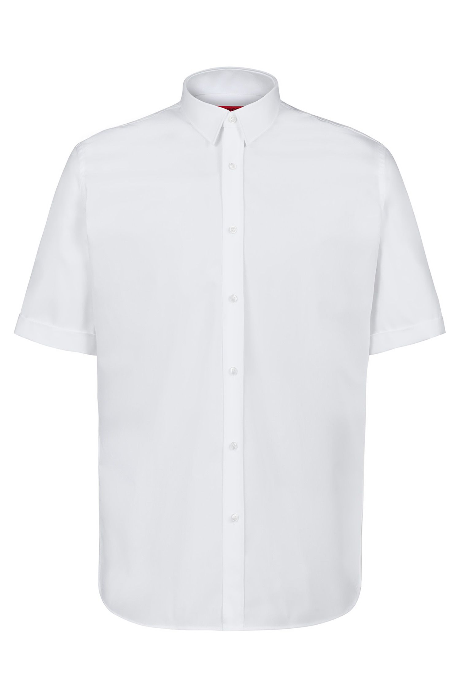 Short-sleeved business shirt in cotton poplin, Open White