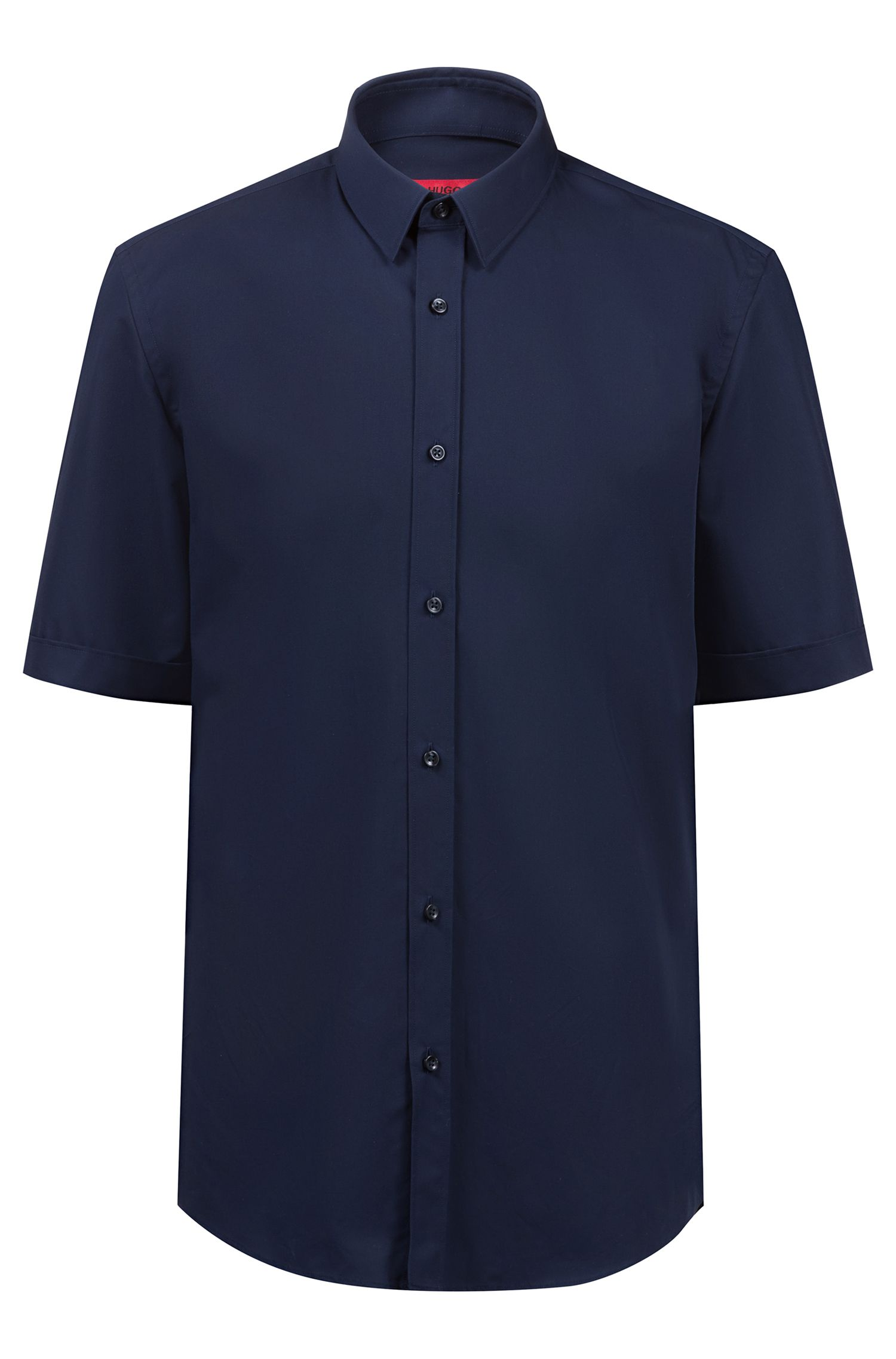 Short-sleeved business shirt in cotton poplin, Dark Blue