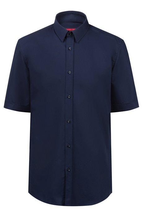 Camisa business de manga corta en popelín de algodón, Azul oscuro