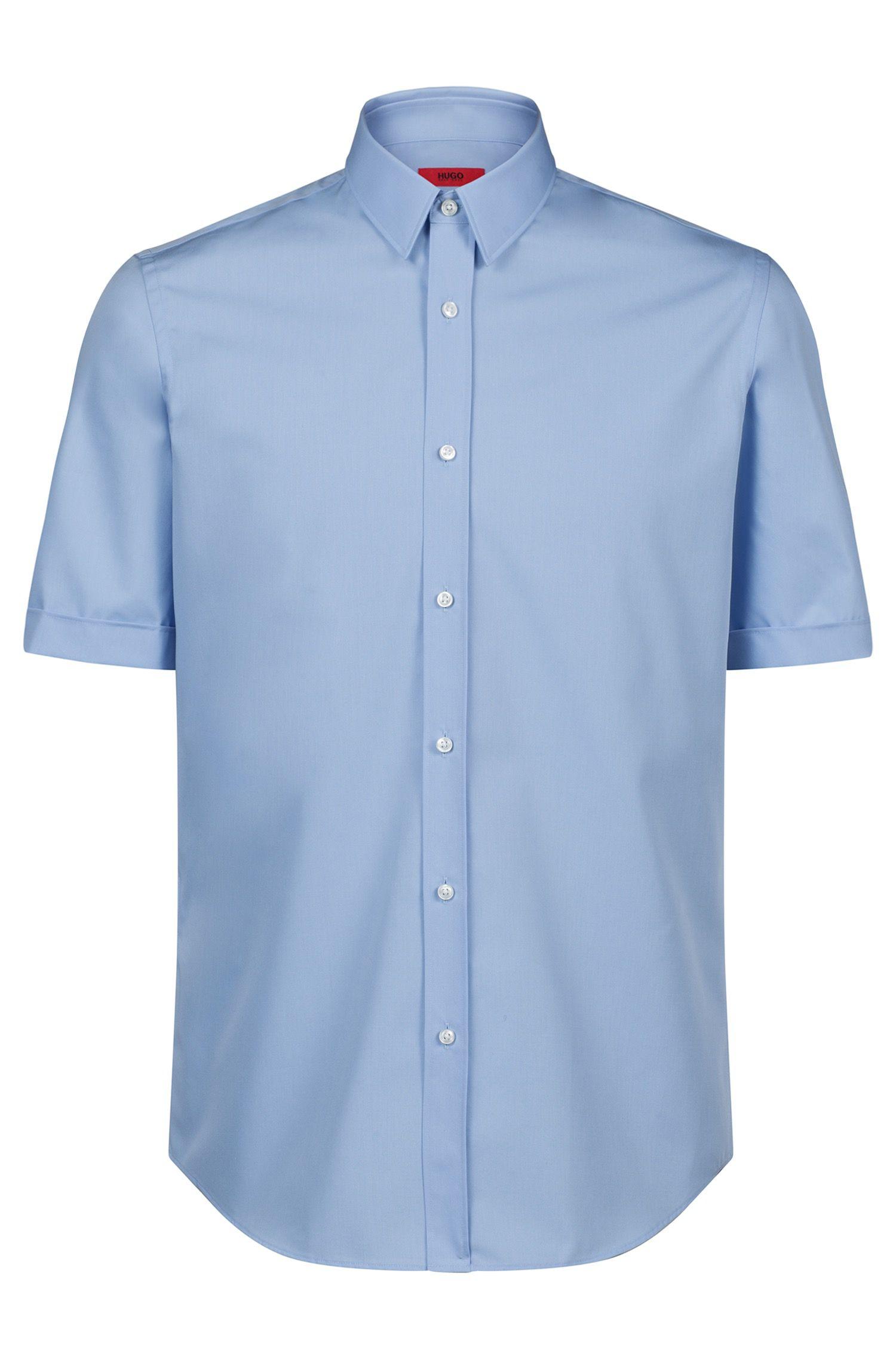 Short-sleeved business shirt in cotton poplin, Light Blue