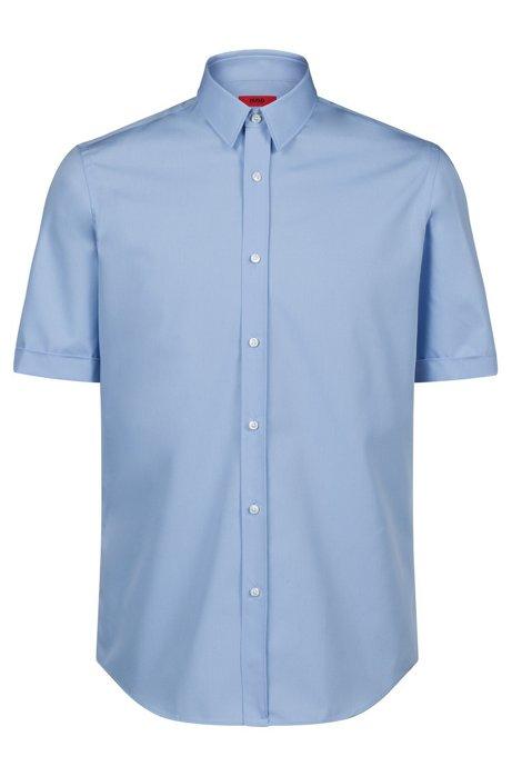 Camisa business de manga corta en popelín de algodón, Celeste
