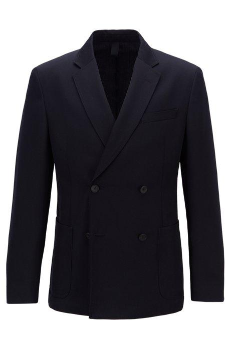 Slim-fit double-breasted jasje van scheerwol, Donkerblauw