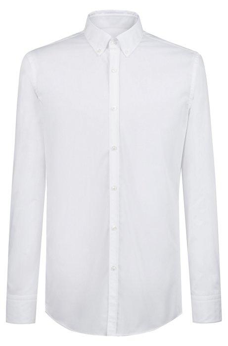 Slim-fit overhemd van katoen met buttondownkraag, Wit