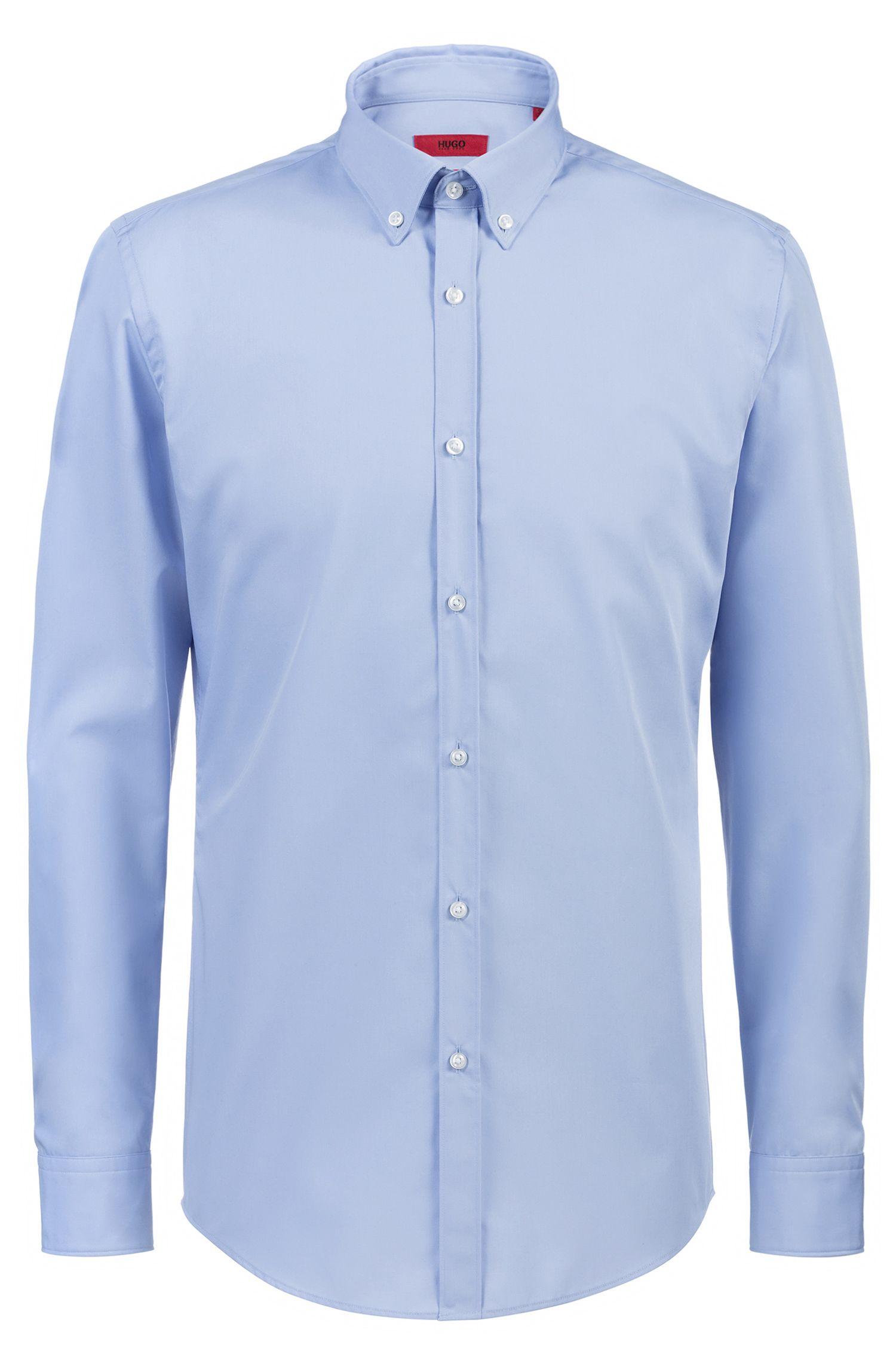 Slim-Fit Hemd aus Baumwolle mit Button-Down-Kragen, Hellblau