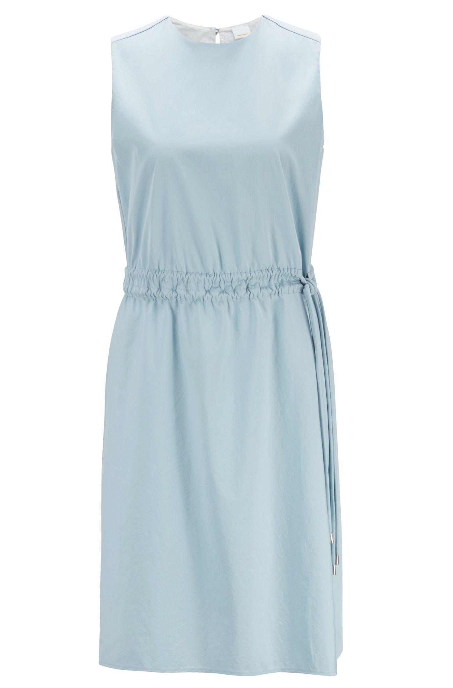 Ärmelloses Kleid aus Baumwoll-Popeline mit verstellbarer Taille, Hellblau