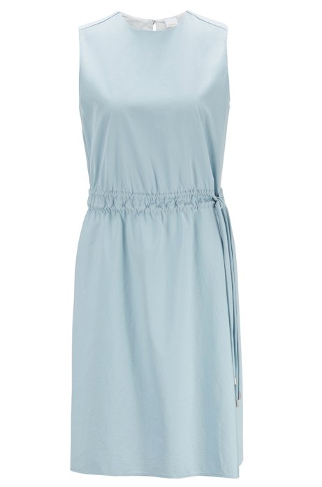 Robe sans manches en popeline de coton, à taille ajustable, Bleu vif
