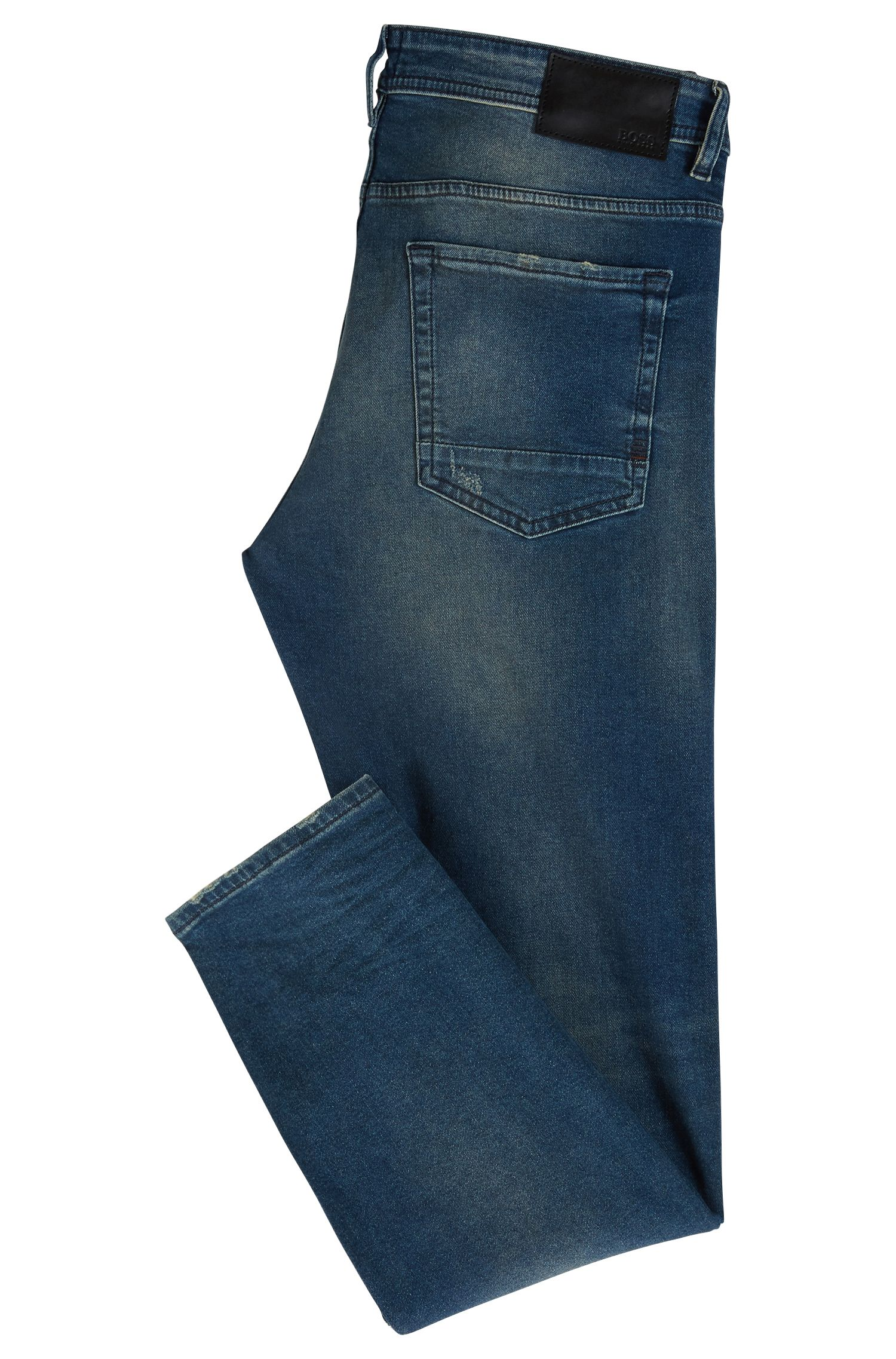 Jean Tapered Fit en denim stretch léger, Bleu foncé