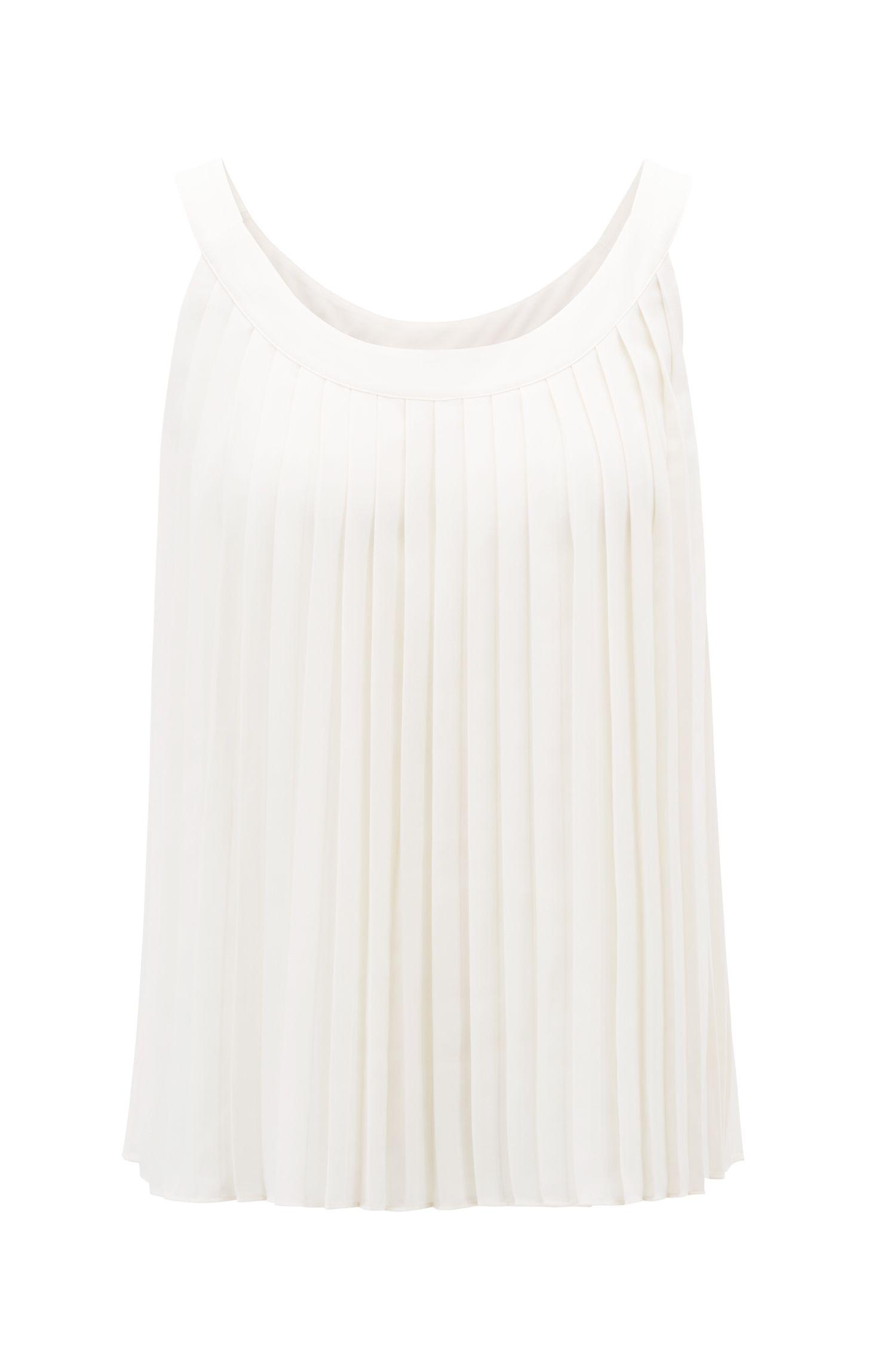 Sleeveless blouse in lightweight plissé fabric, Natural