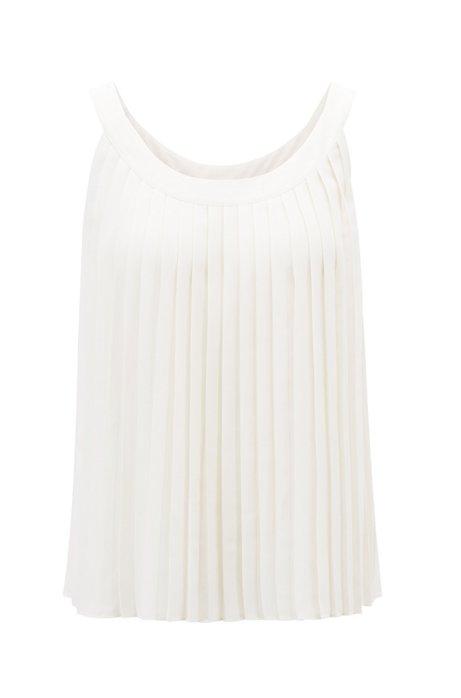 Mouwloze blouse van licht plissémateriaal, Naturel