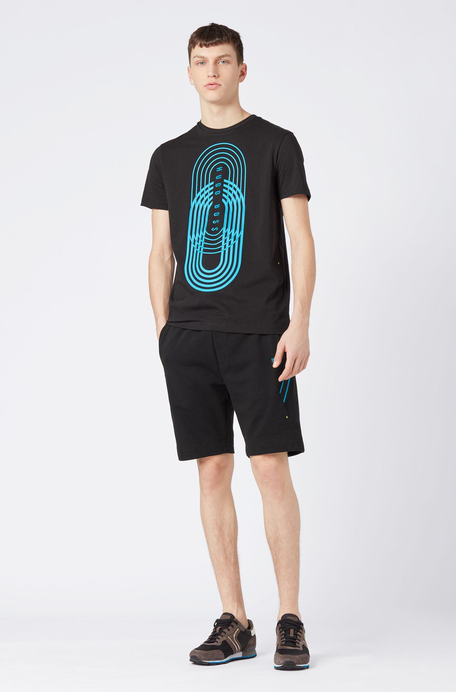 T-Shirt aus umweltfreundlichem Jersey mit Grafik-Print, Schwarz
