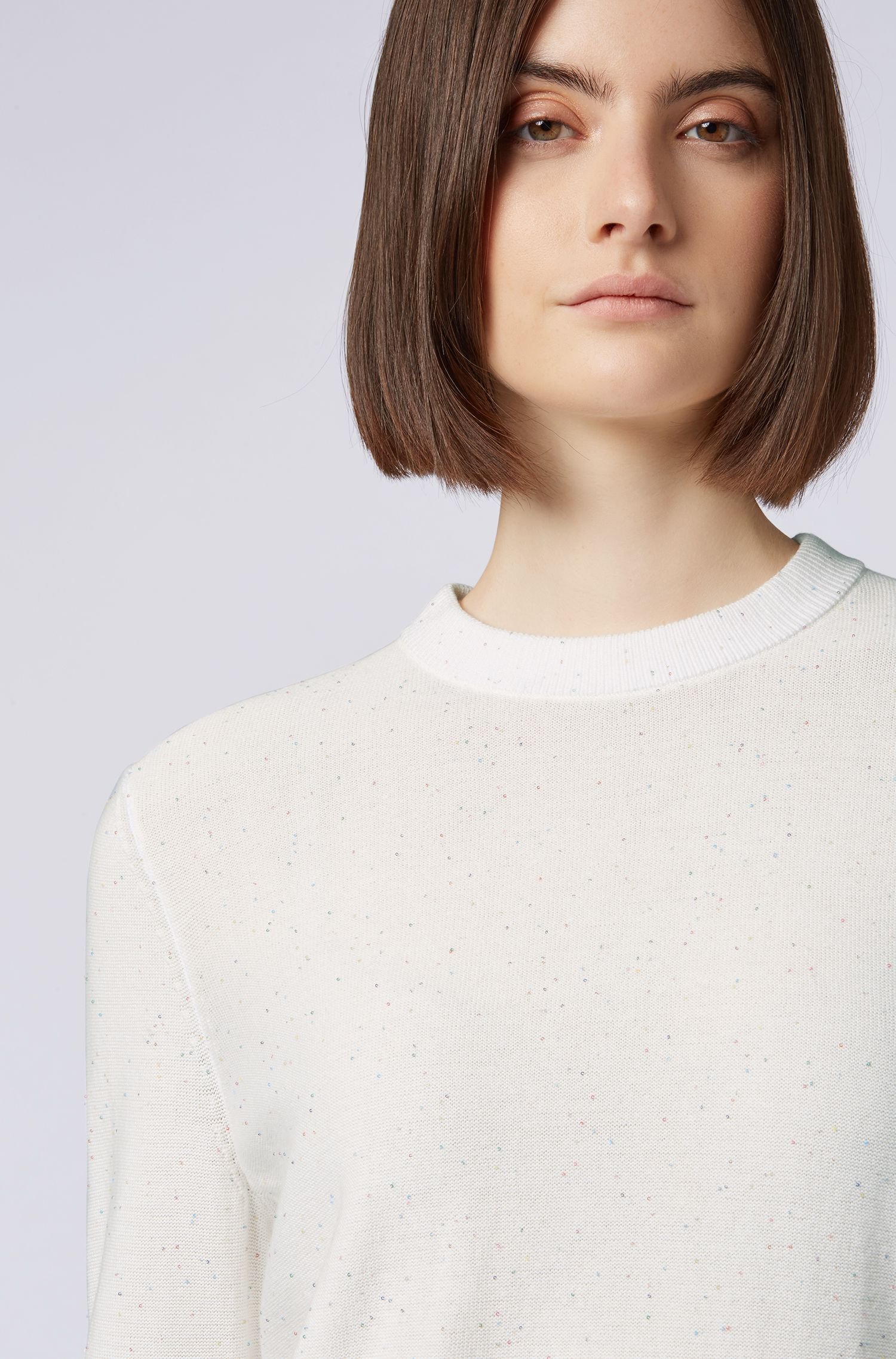 Relaxed-fit sweater with micro sequins, Natural