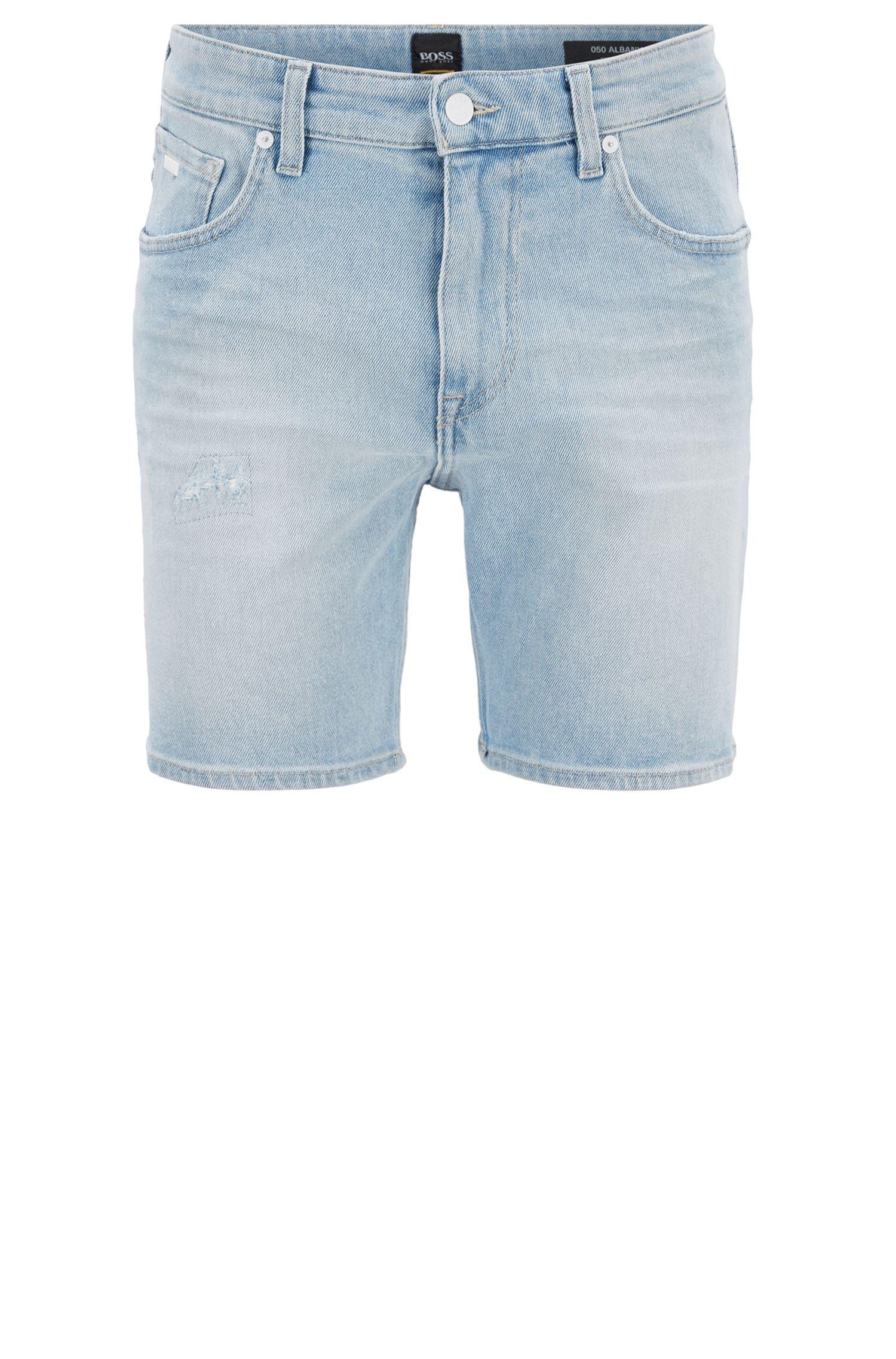 Relaxed-Fit Shorts aus gebleichtem Stretch-Denim, Türkis