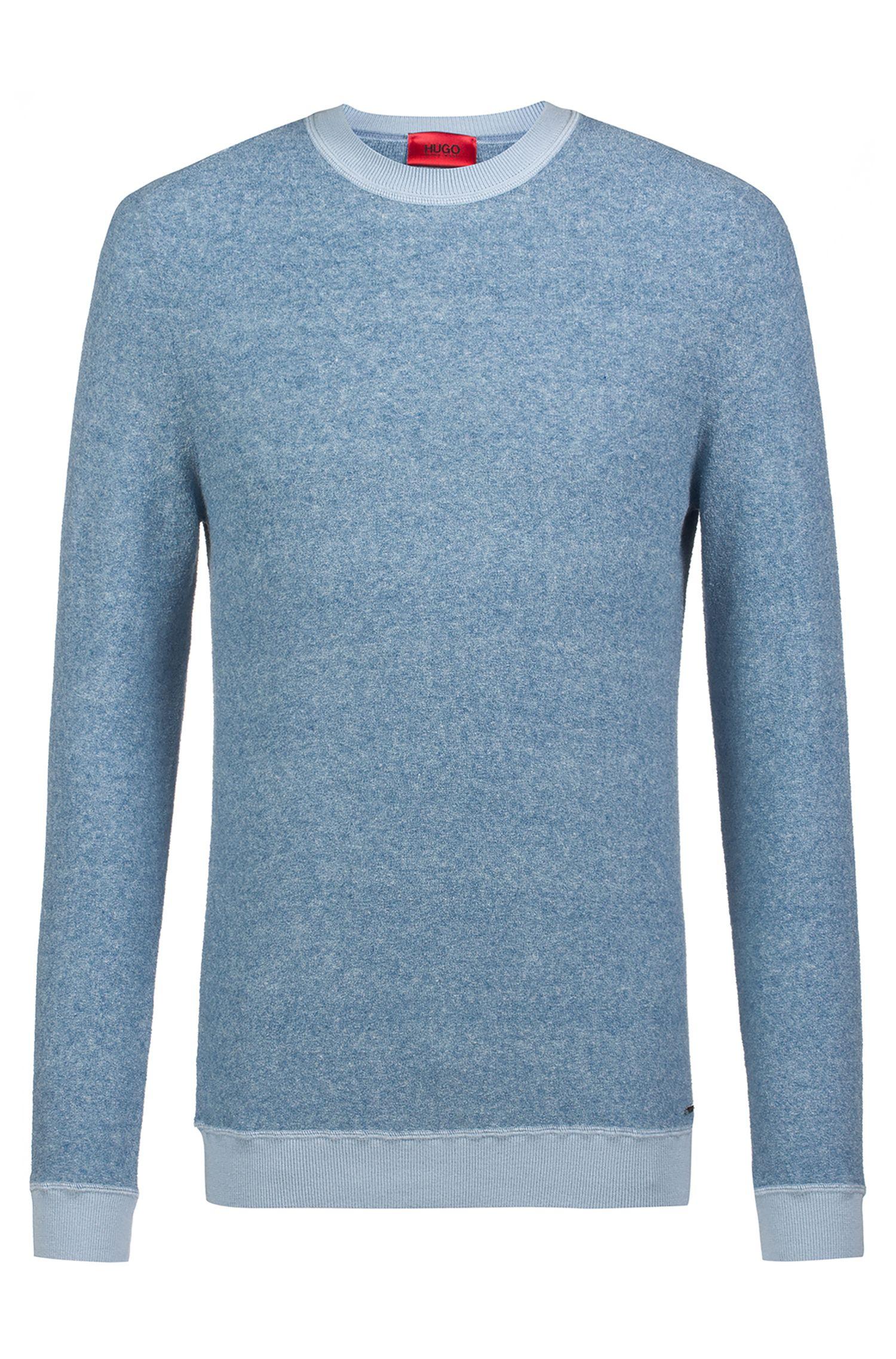 Relaxed-Fit Pullover aus gestricktem Baumwoll-Mix mit Bouclé-Struktur, Hellblau