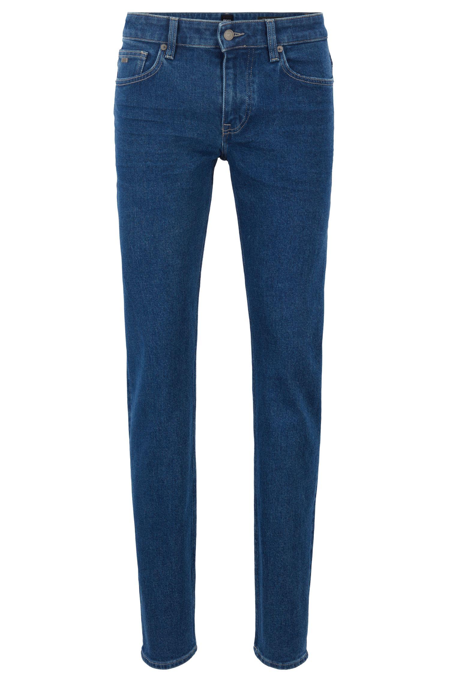 Slim-fit jeans in eco-friendly dyed salt-and-pepper denim, Dark Blue