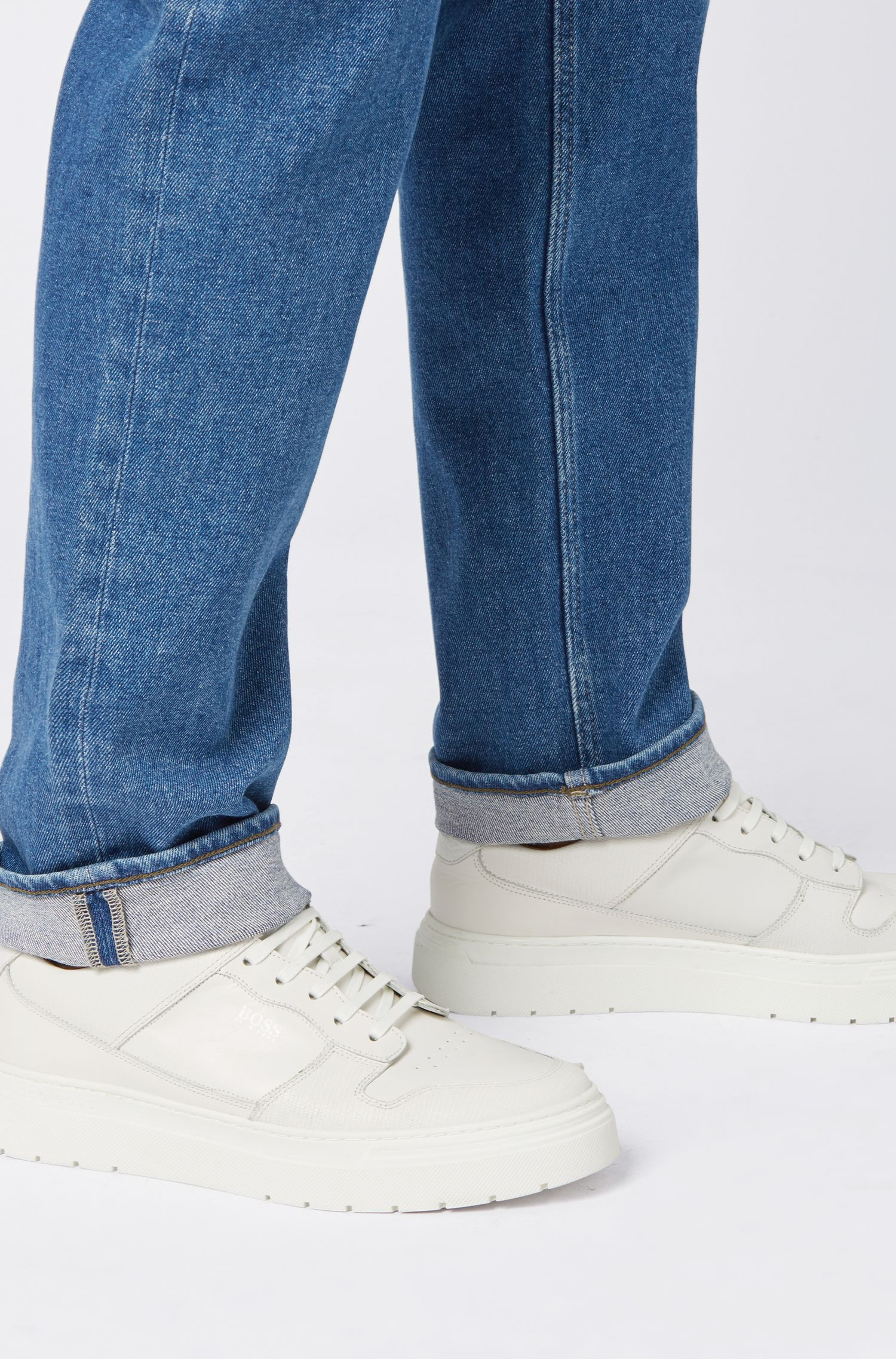 Relaxed-fit jeans in sustainable salt-and-pepper wash, Dark Blue