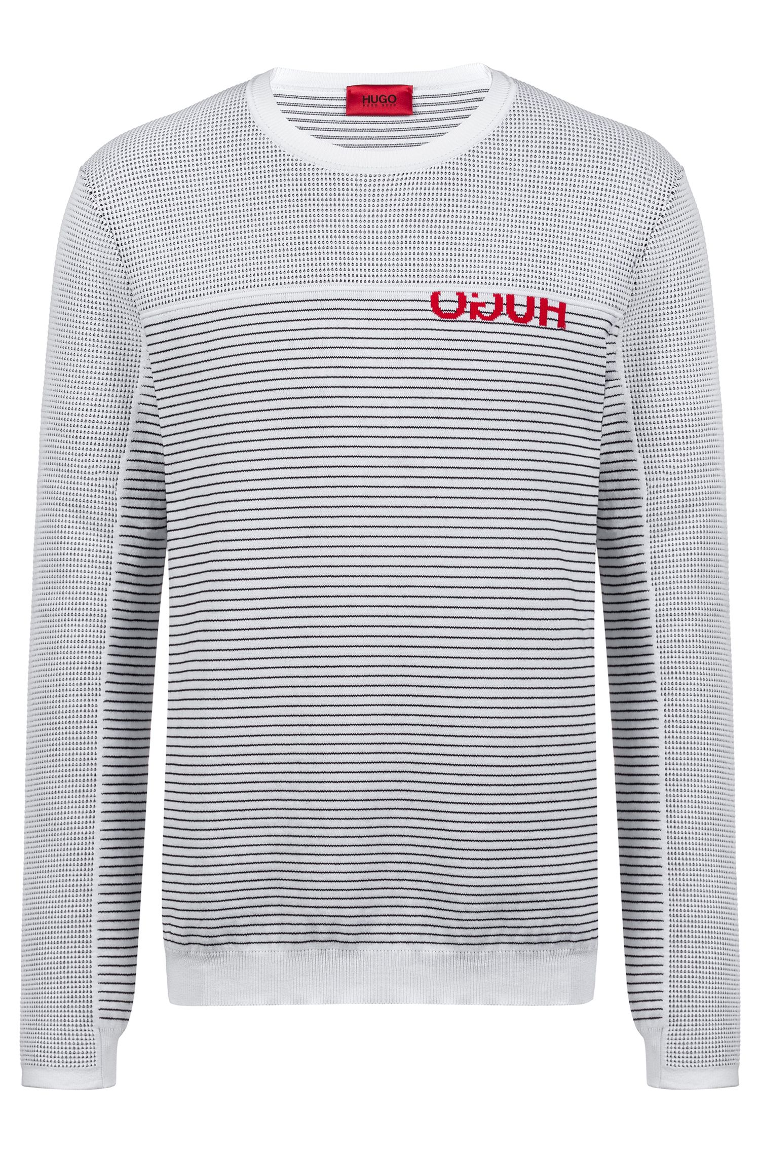 Knitted sweater with cropped logo and horizontal stripes, White