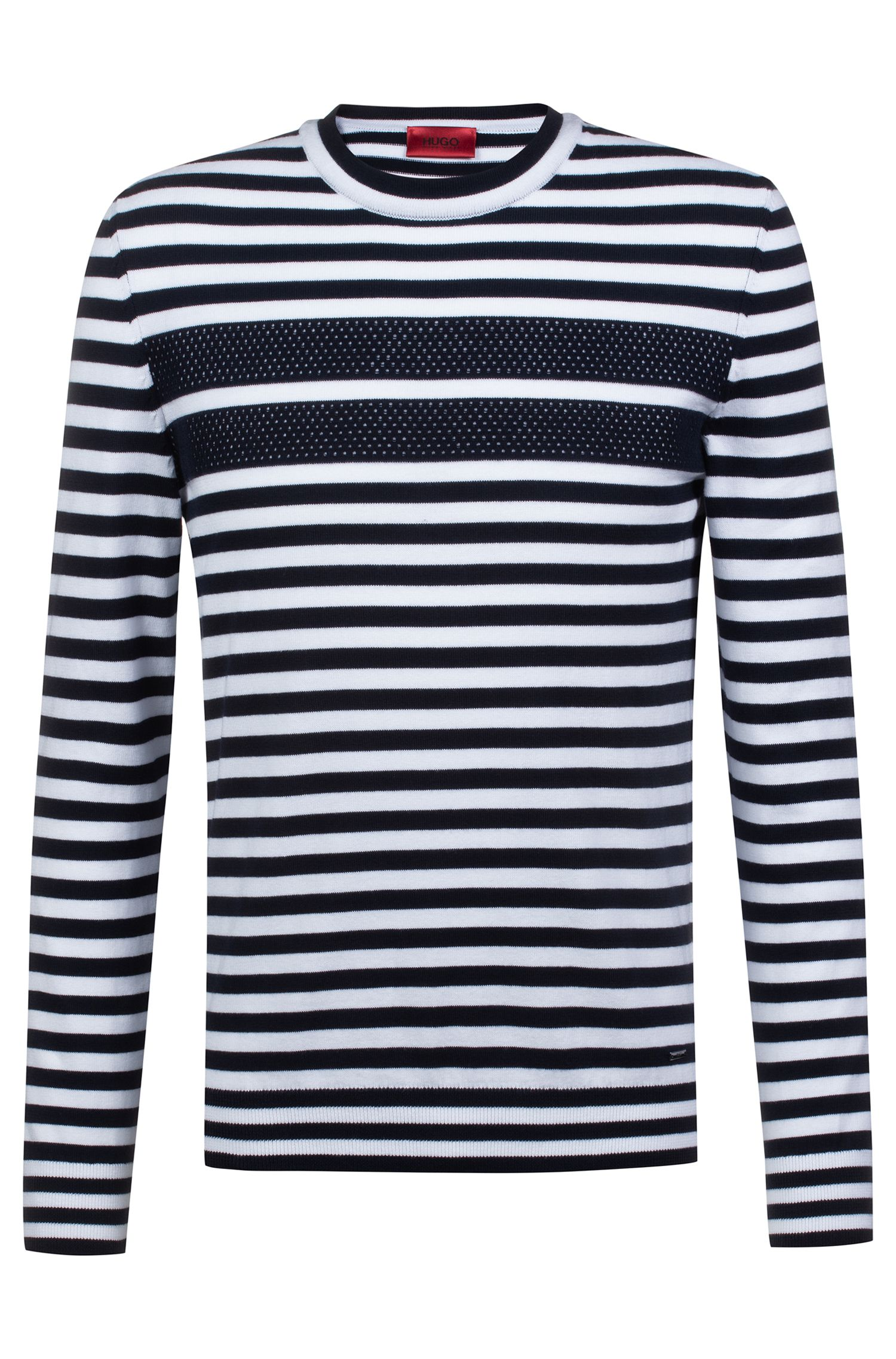 Regular-fit long-sleeved T-shirt in striped cotton, Patterned