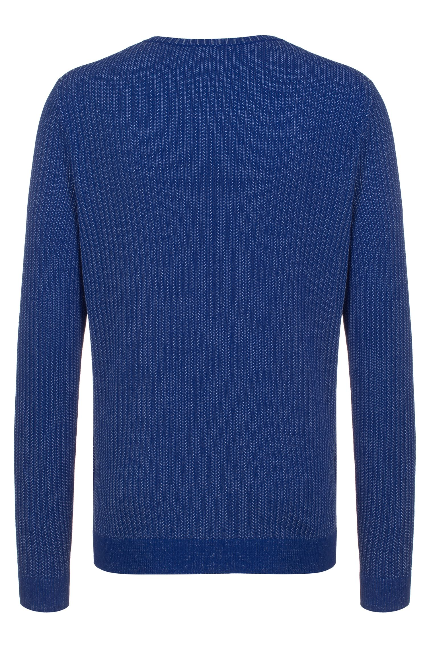 Regular-fit sweater in cotton with two-tone structure, Blue