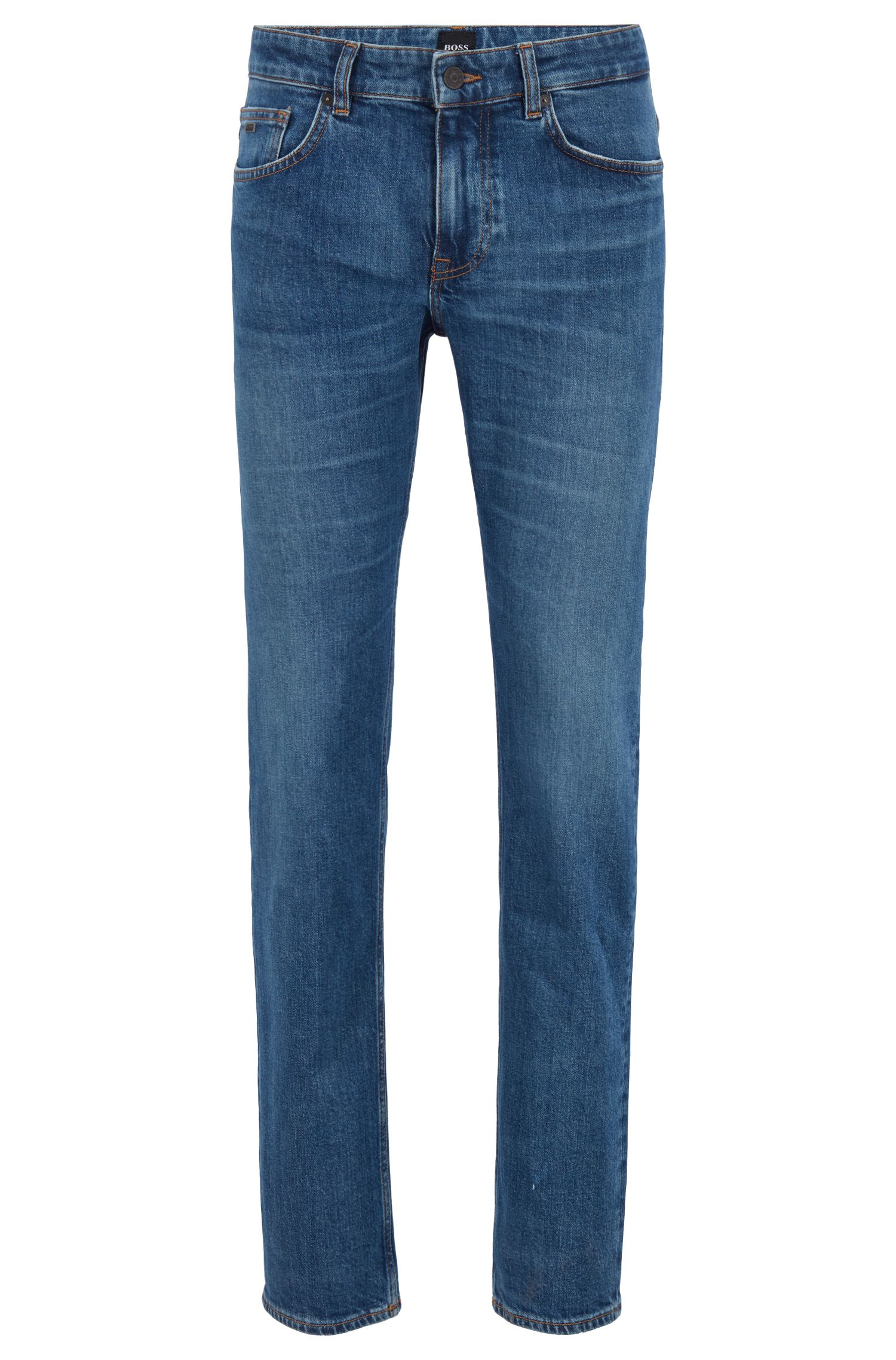 Distressed slim-fit jeans in eco-friendly Italian denim, Dark Blue
