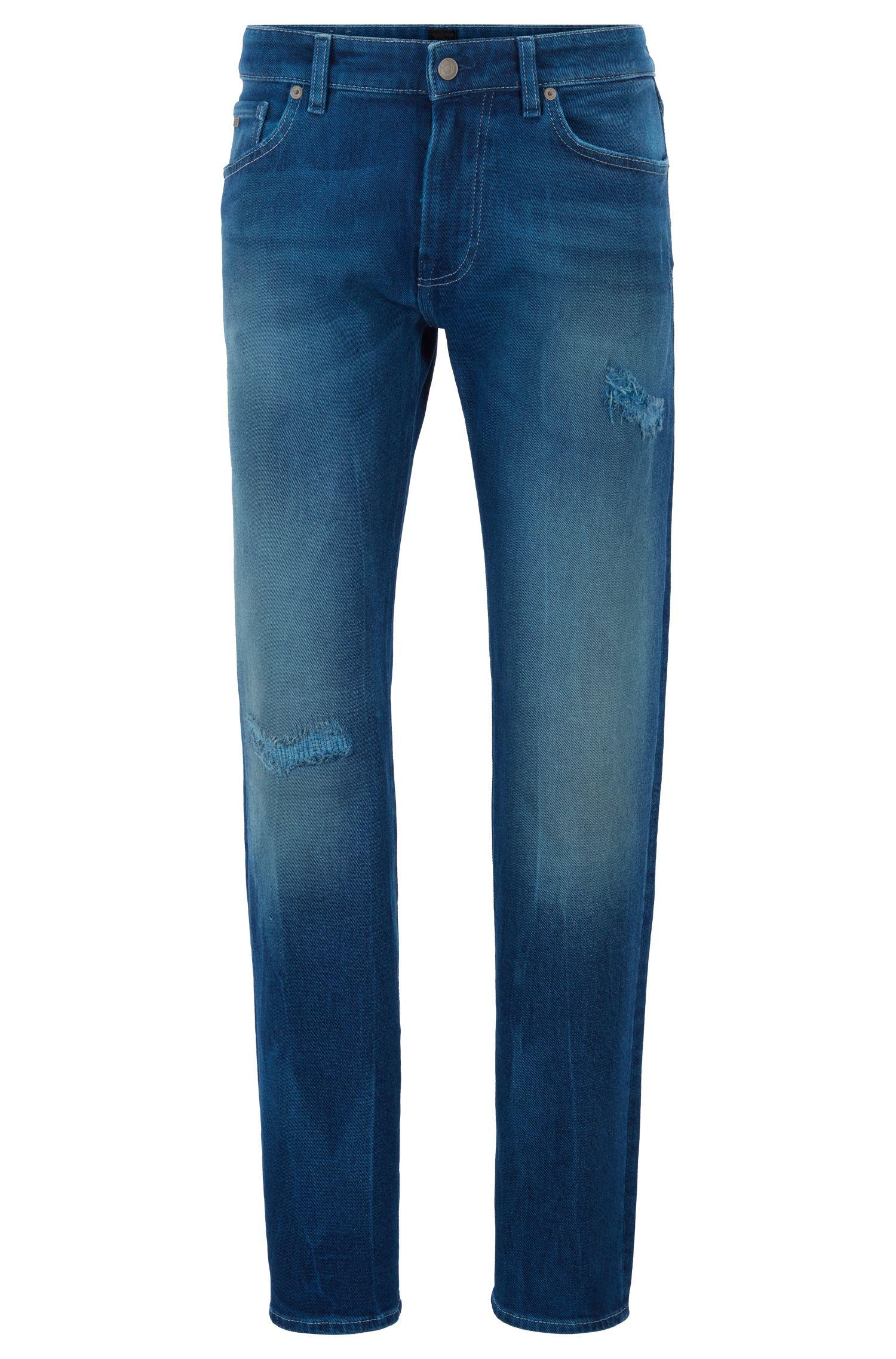 Jeans met rechte pijpen, van stretchdenim in peper-en-zoutlook, Donkerblauw