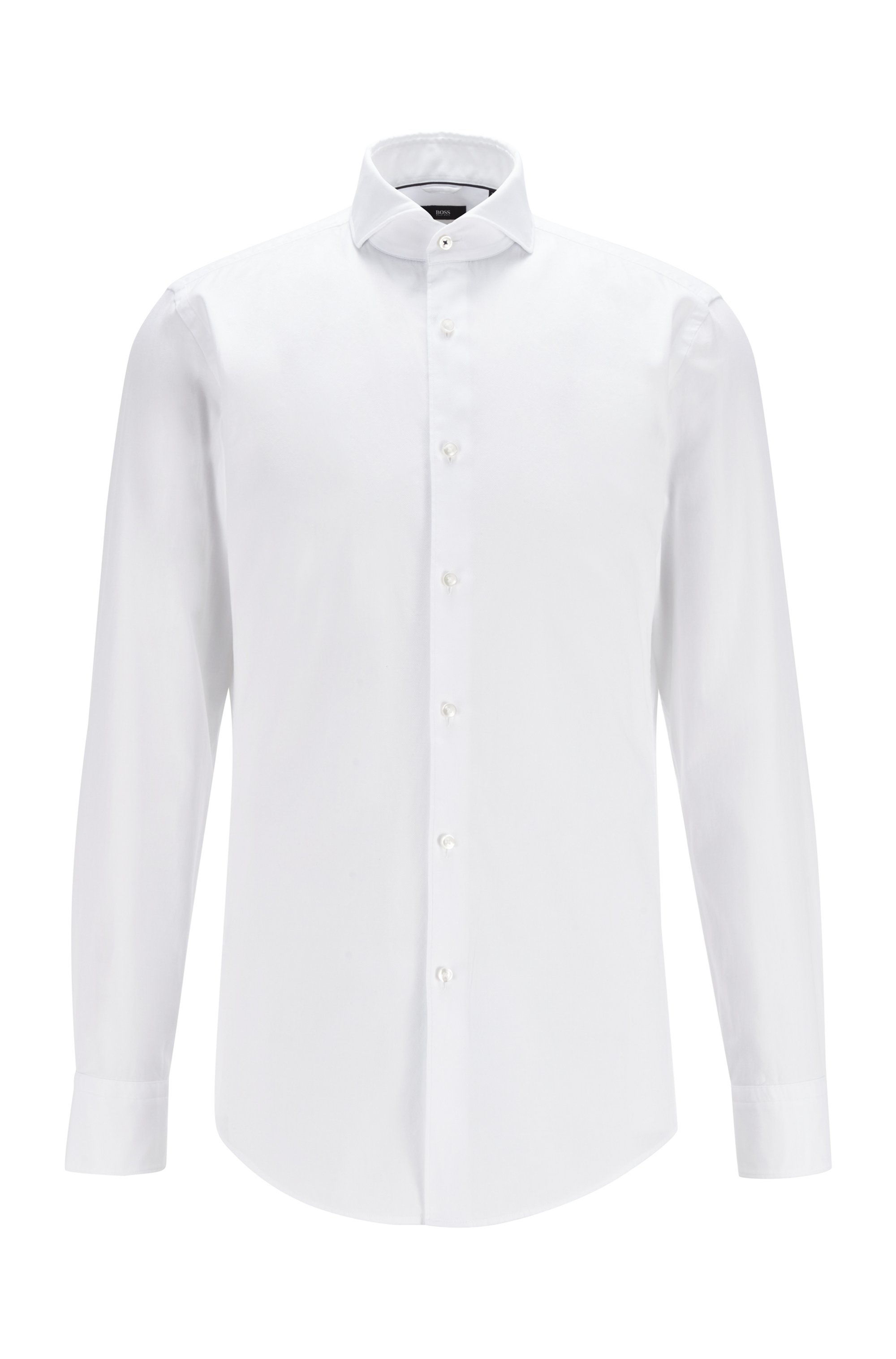 Slim-fit shirt in garment-washed cotton, White