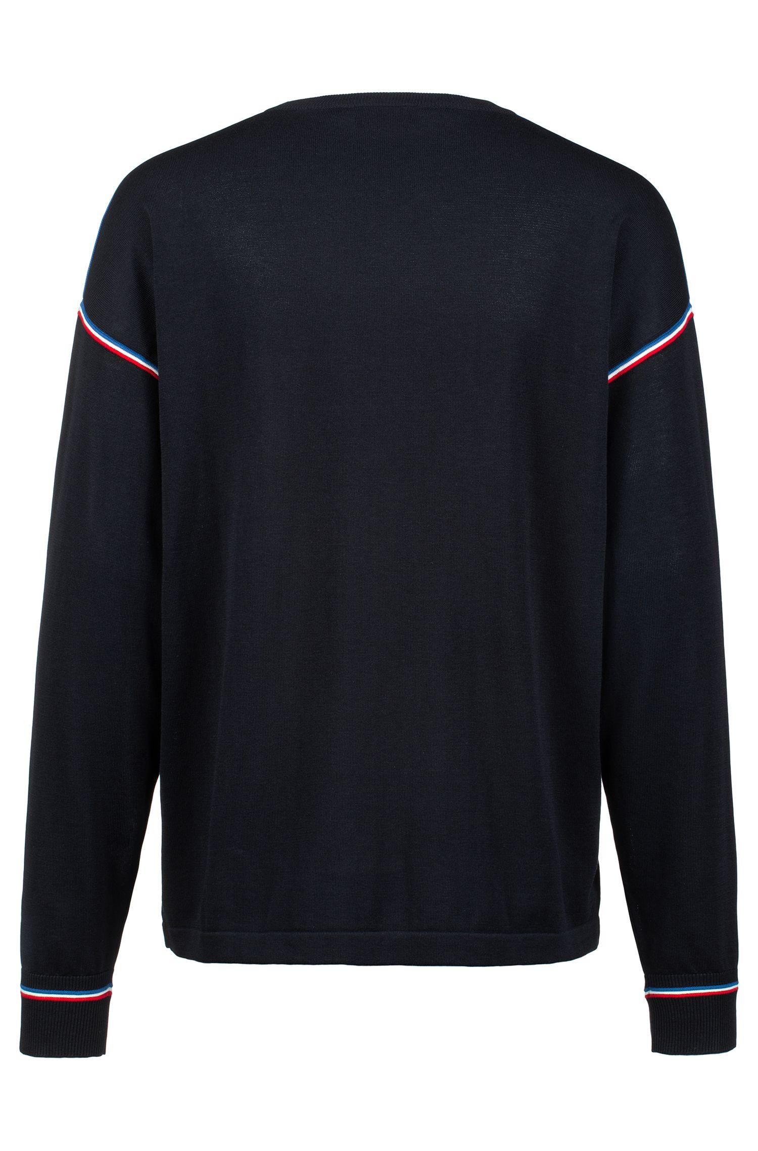 Oversized Pullover aus Baumwolle mit dreifarbigen Streifen, Dunkelblau