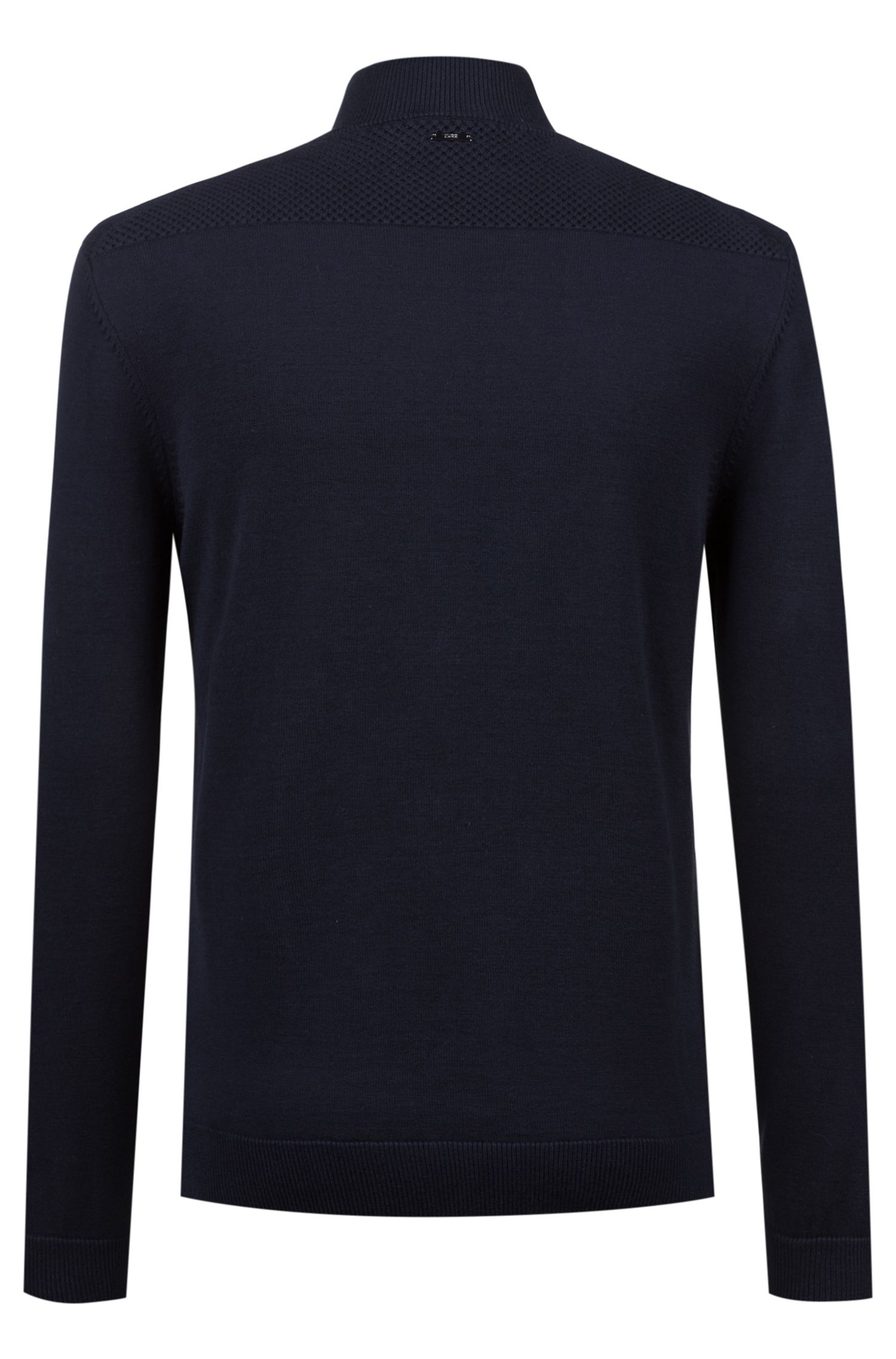 Oversized-fit knitted jacket with cropped-logo placket, Dark Blue