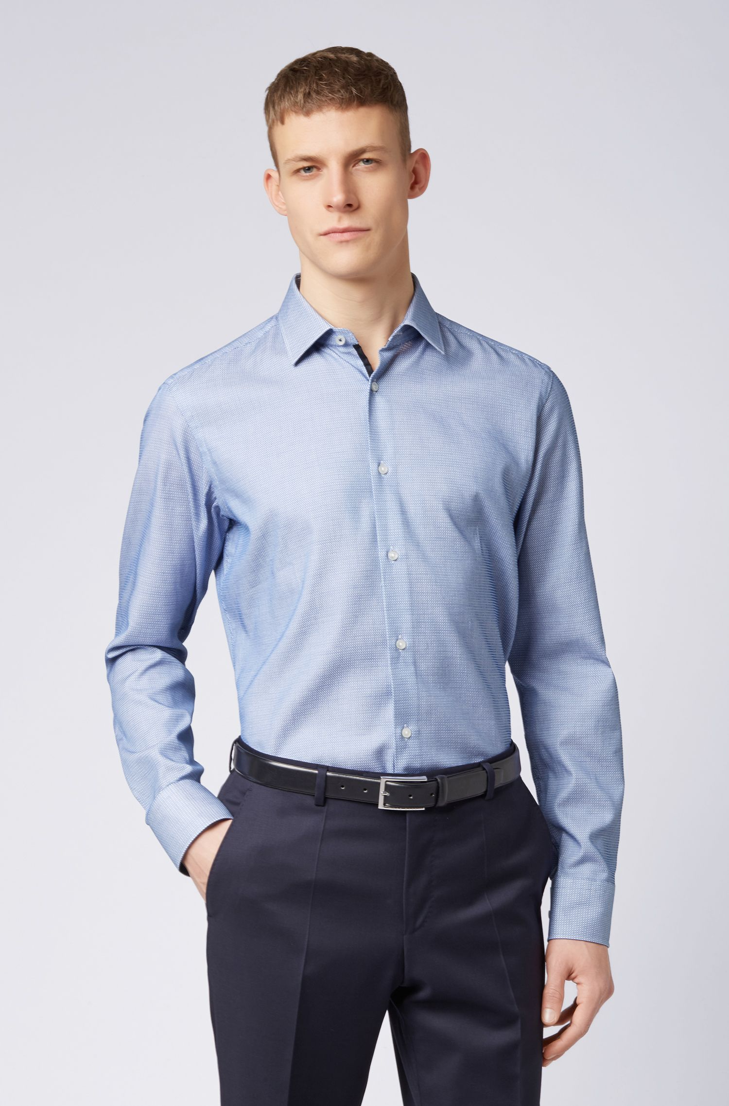 Regular-fit shirt in cotton with square micro structure, Blue