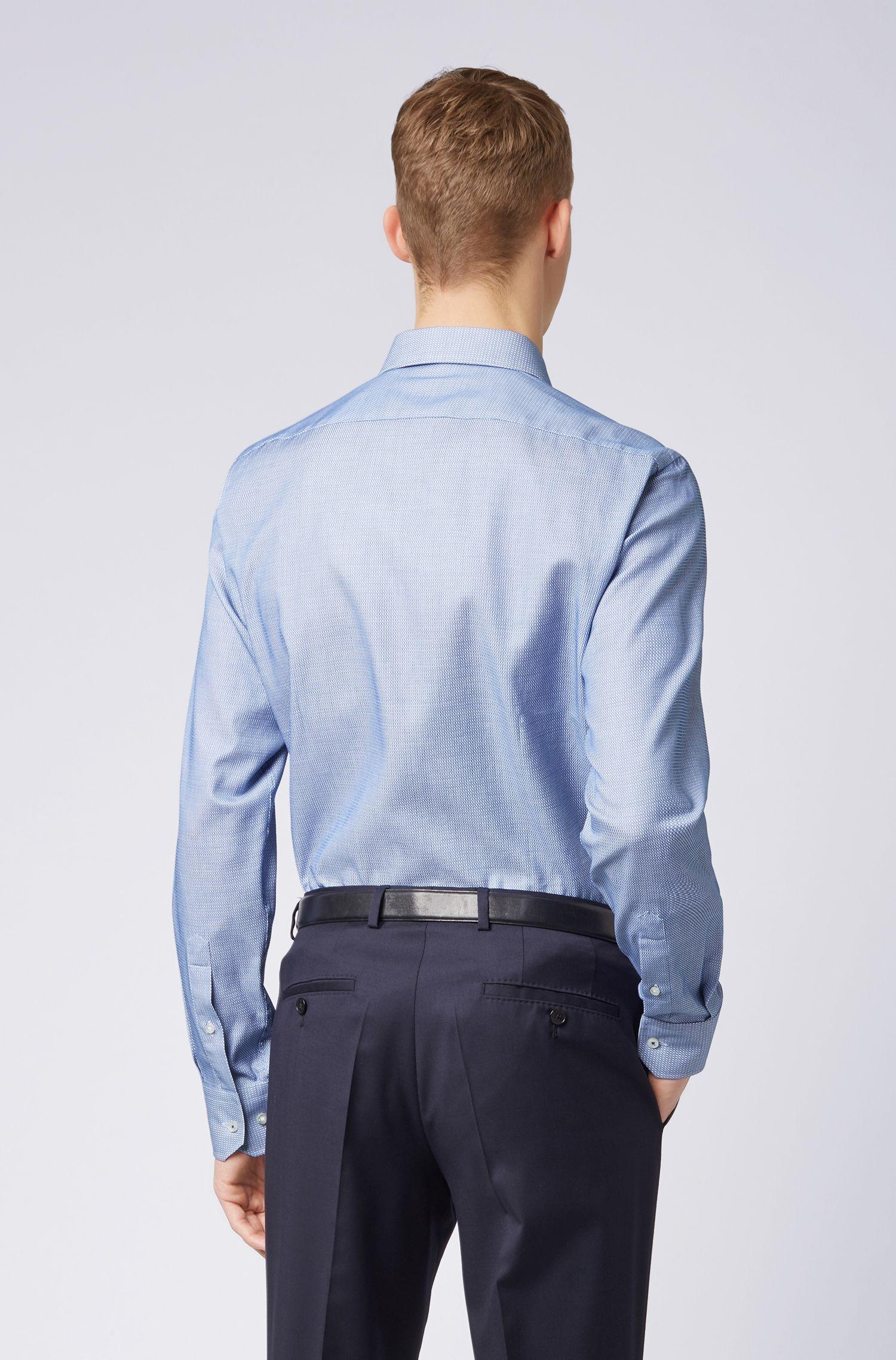 Regular-Fit Hemd aus Baumwolle mit feiner Struktur, Blau