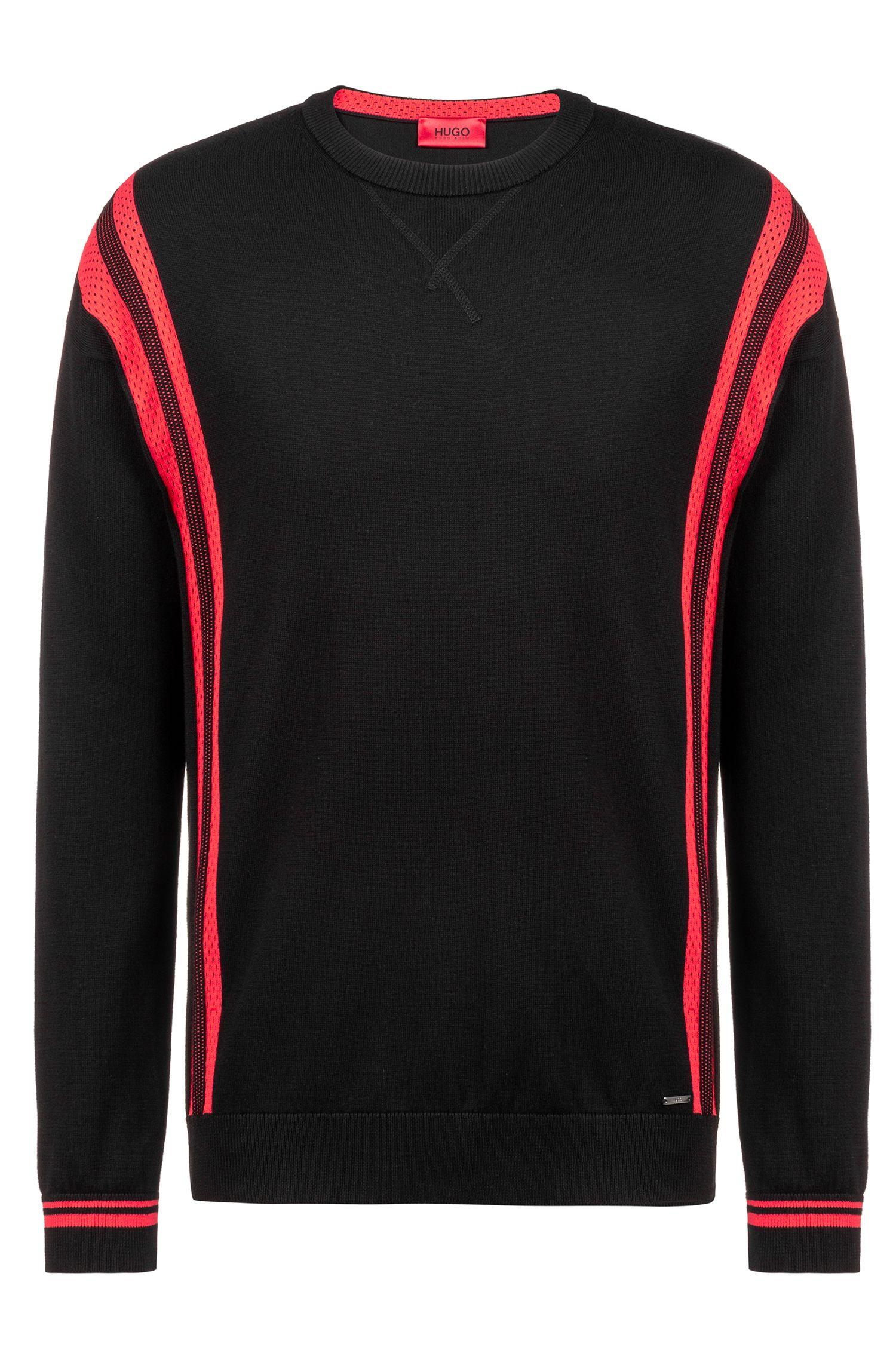 Oversized Pullover aus Baumwolle mit kontrastfarbenen Mesh-Einsätzen, Gemustert