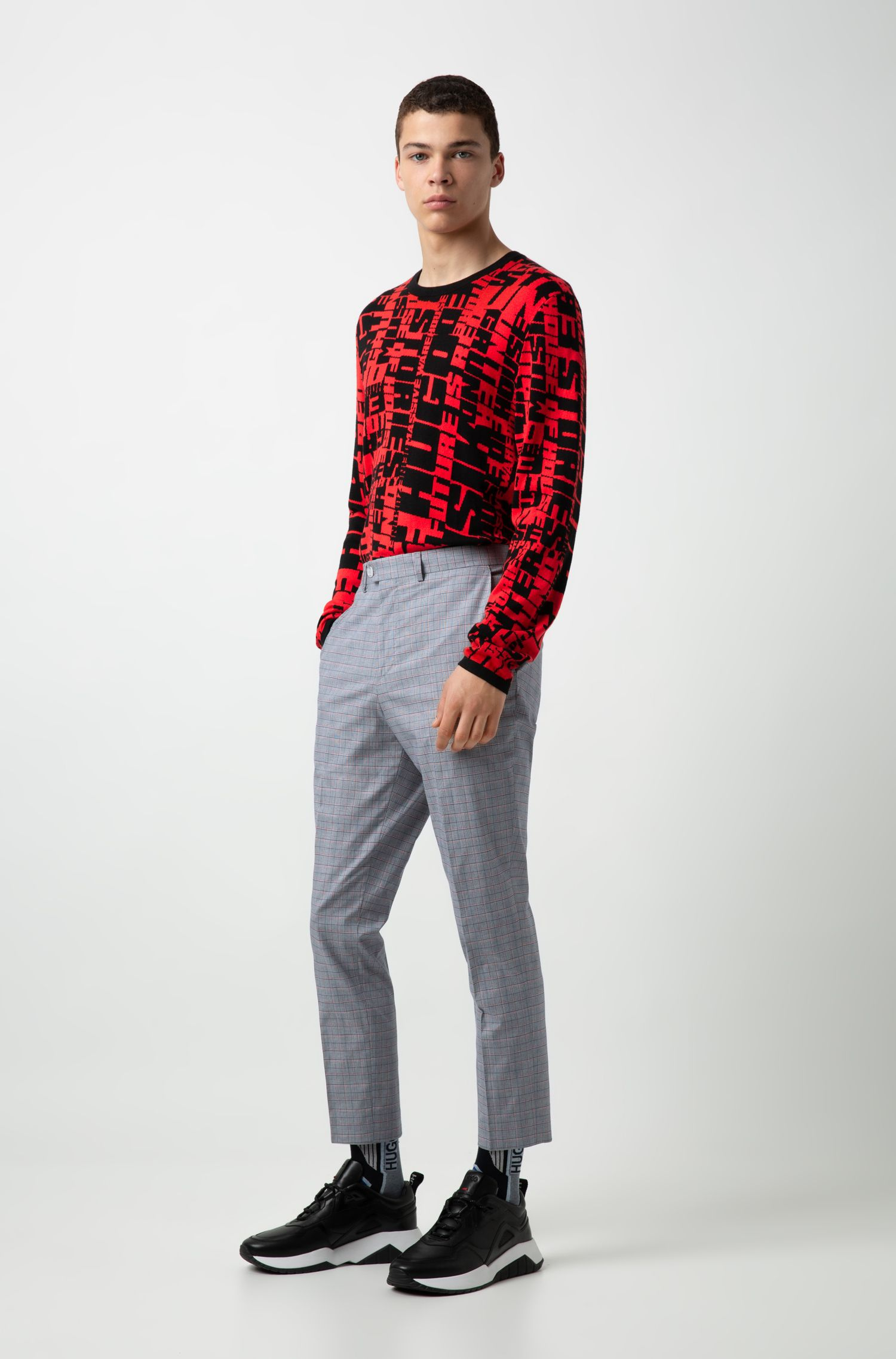 Collection-slogan patterned sweater in cotton-blend knitted jacquard, Patterned
