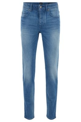 Tapered-Fit Jeans im Vintage-Look aus komfortablem Stretch-Denim, Blau