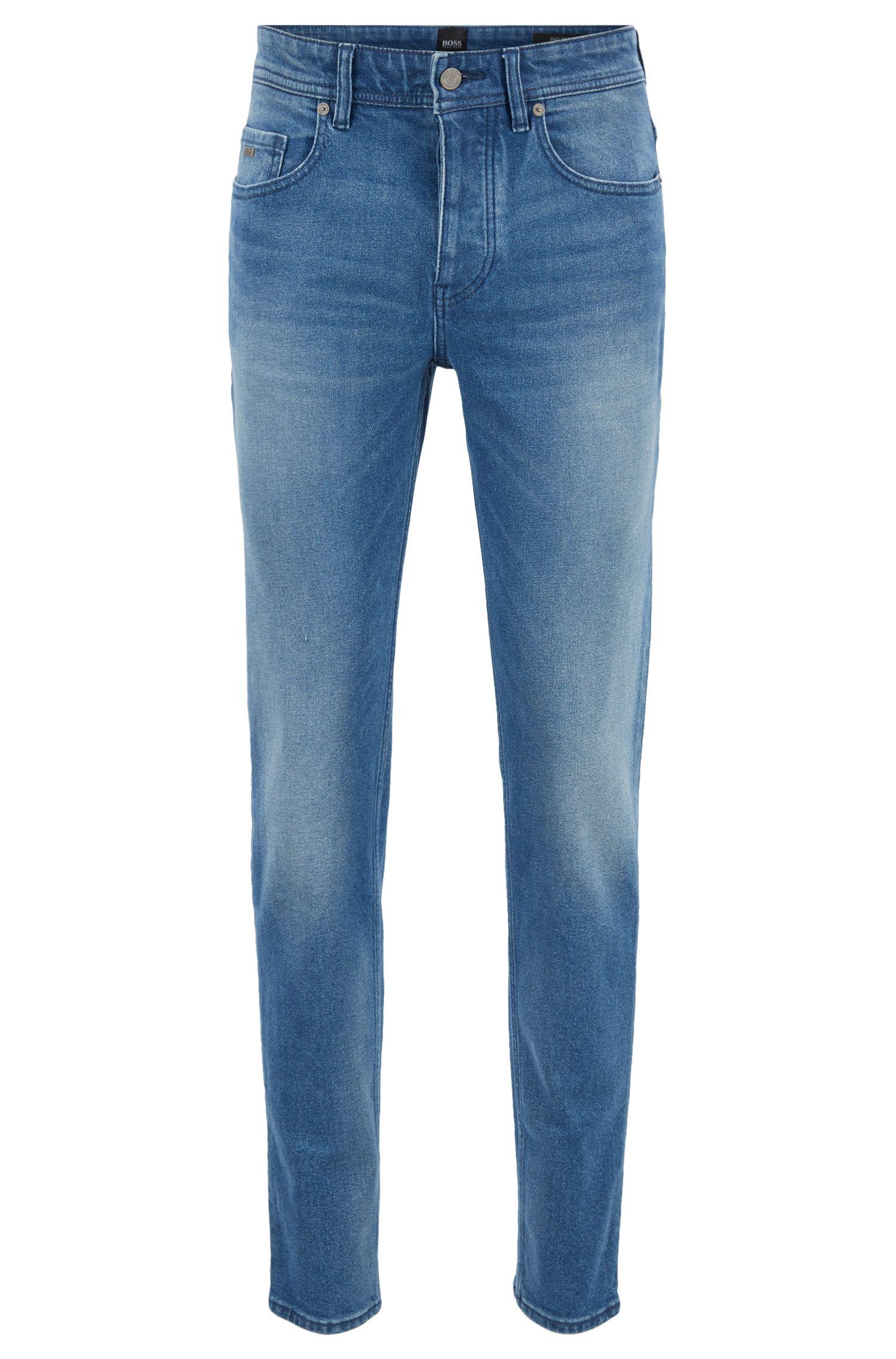 Jeans tapered fit in comodo denim elasticizzato effetto vintage, Blu
