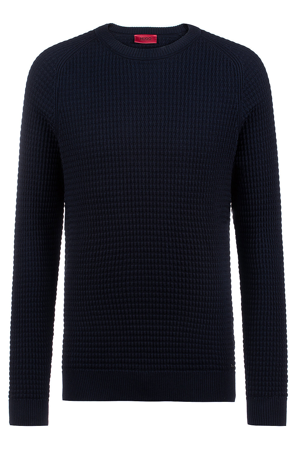 064343251 HUGO - Crew-neck sweater in knitted cotton jacquard