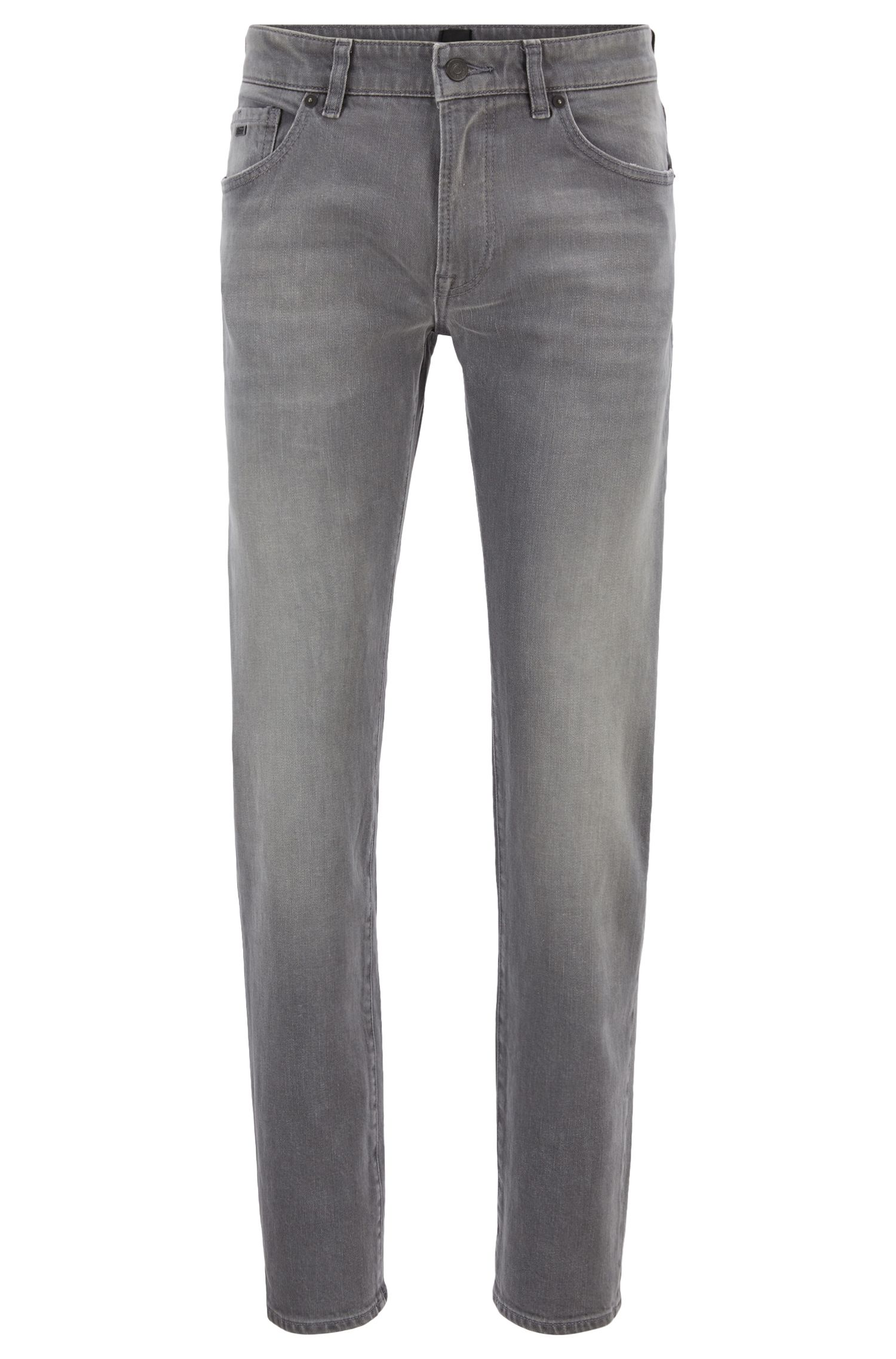 Jeans regular fit in denim elasticizzato grigio, Grigio