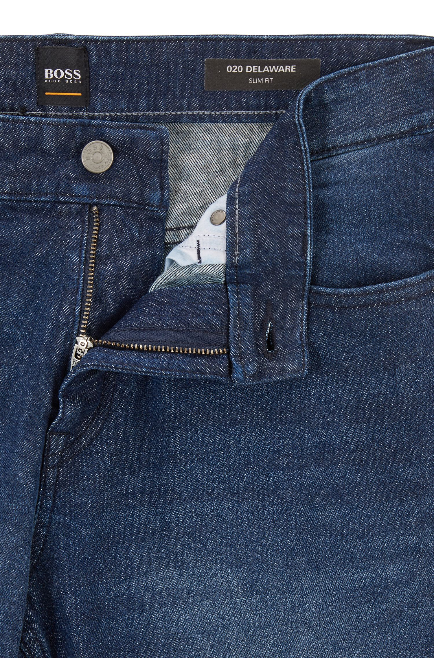 Slim-fit jeans in stretch denim with used effects, Dark Blue