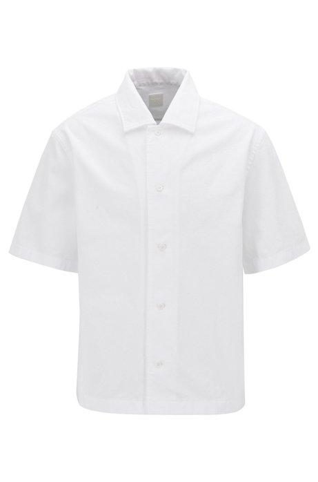 Regular-fit overhemd van zware katoenen keperstof, Wit