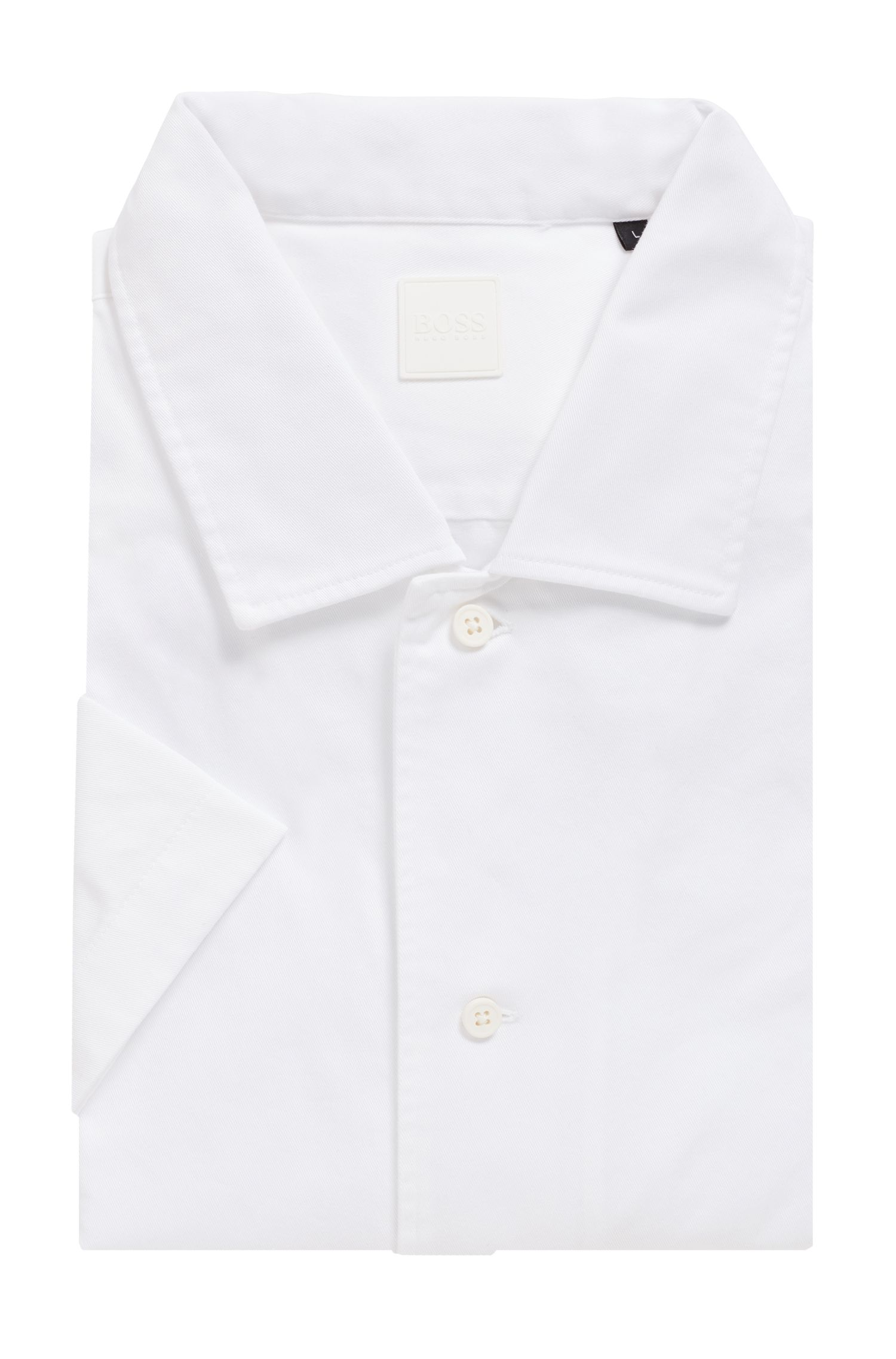 Relaxed-fit shirt in heavy cotton twill, White