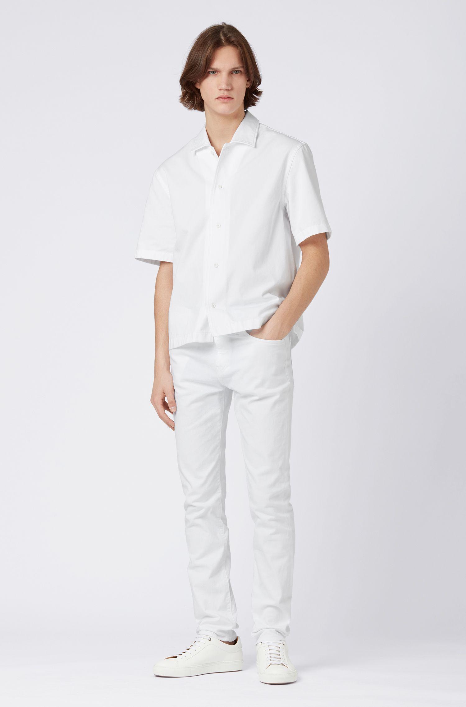 Camisa relaxed fit en sarga de algodón pesado, Blanco